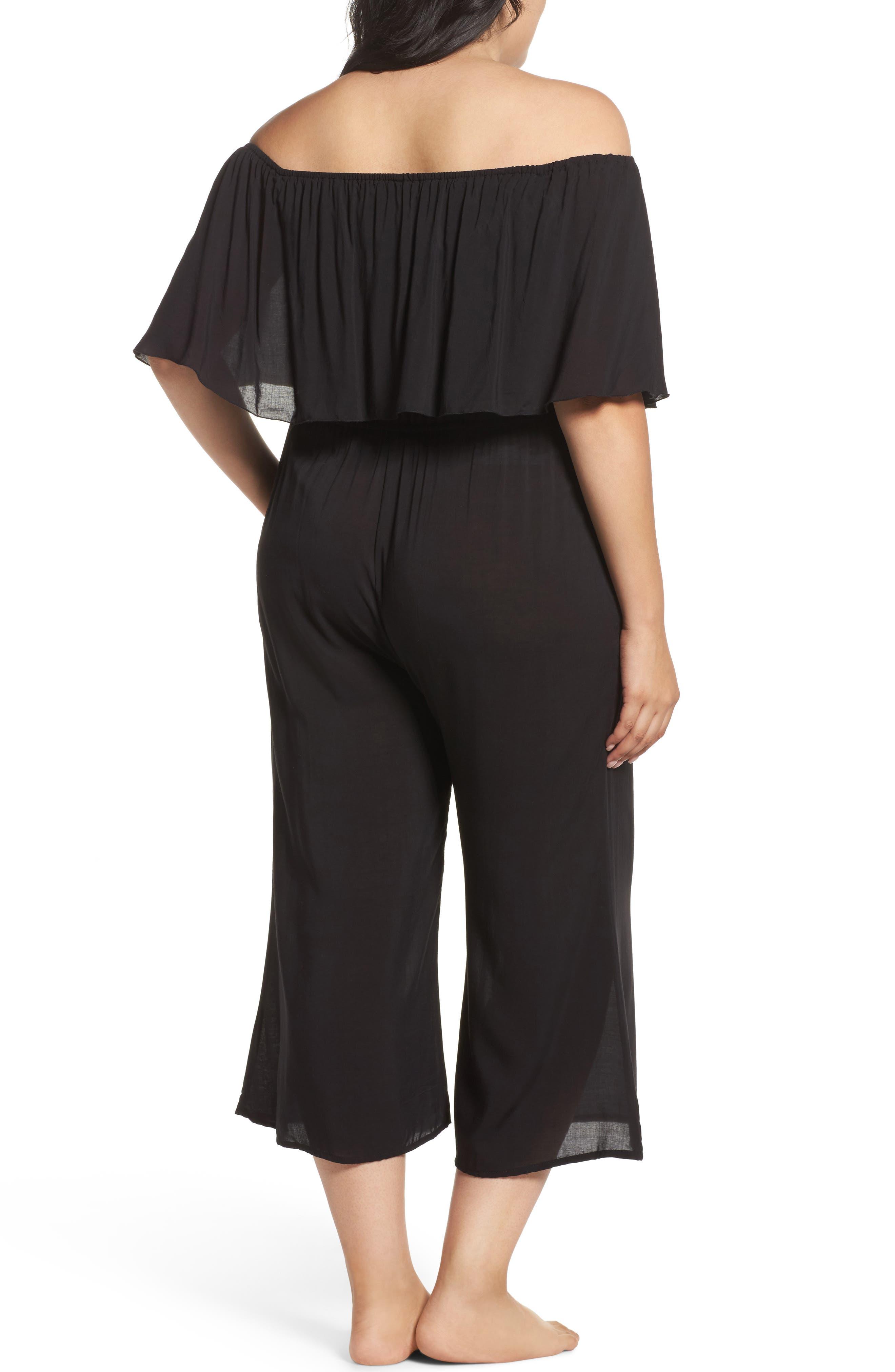 Alternate Image 2  - Elan Off the Shoulder Cover-Up Jumpsuit (Plus Size)