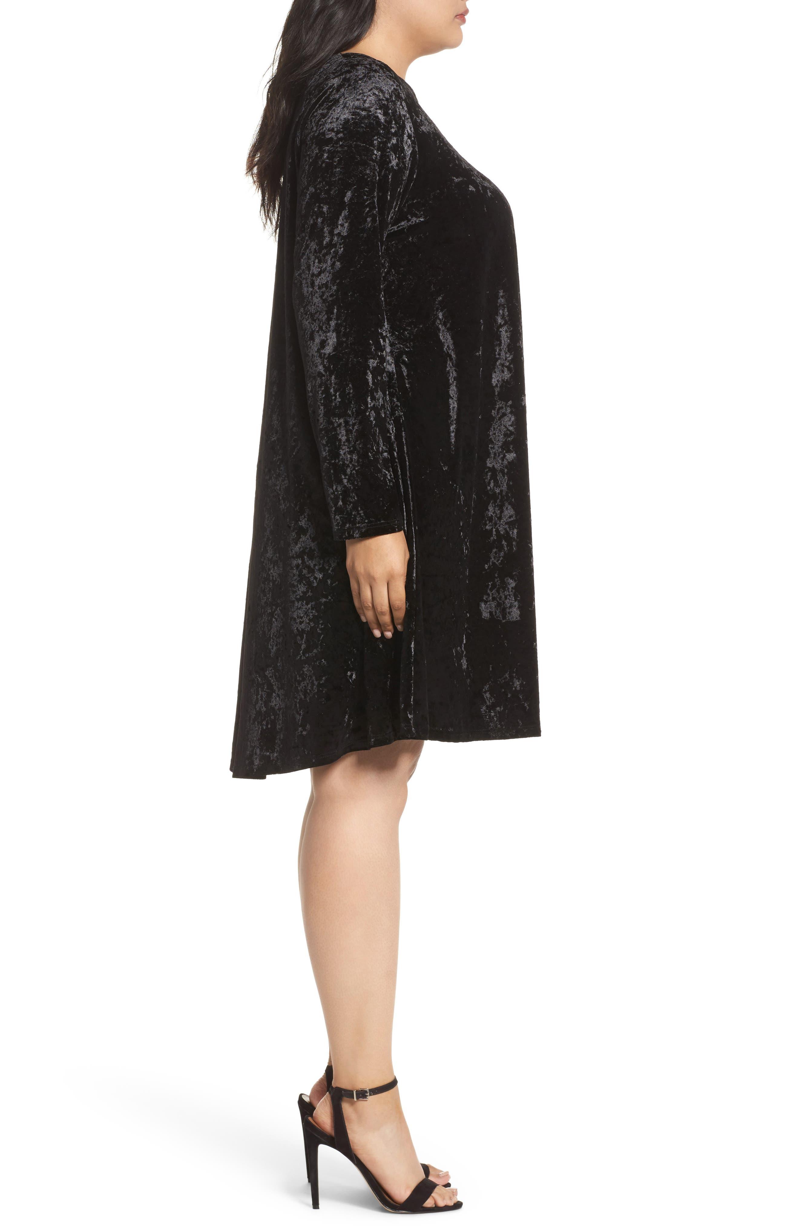 Velvet Shift Dress,                             Alternate thumbnail 3, color,                             Black Velvet