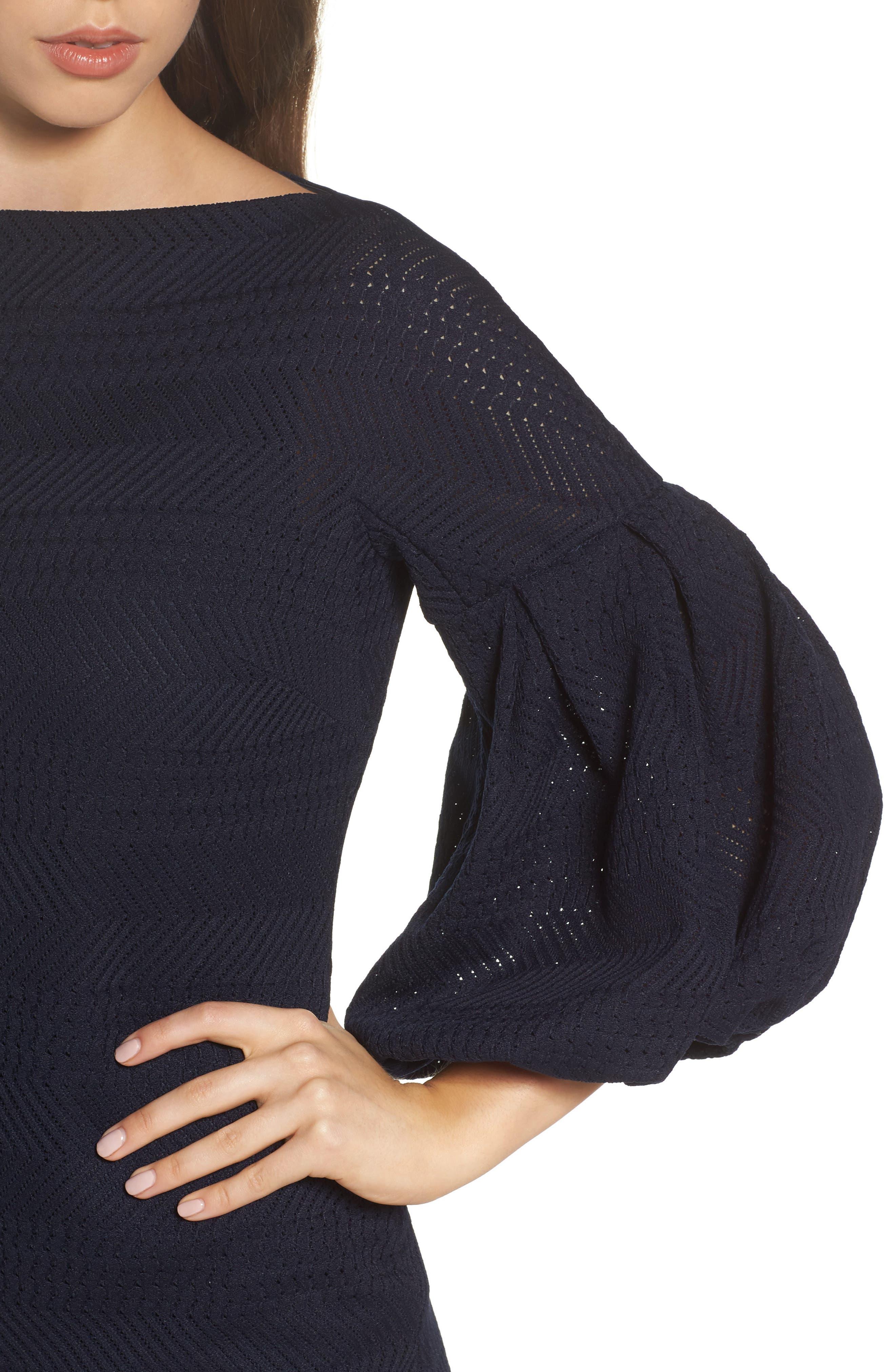 Solid Herringbone Knit Dress,                             Alternate thumbnail 4, color,                             Navy