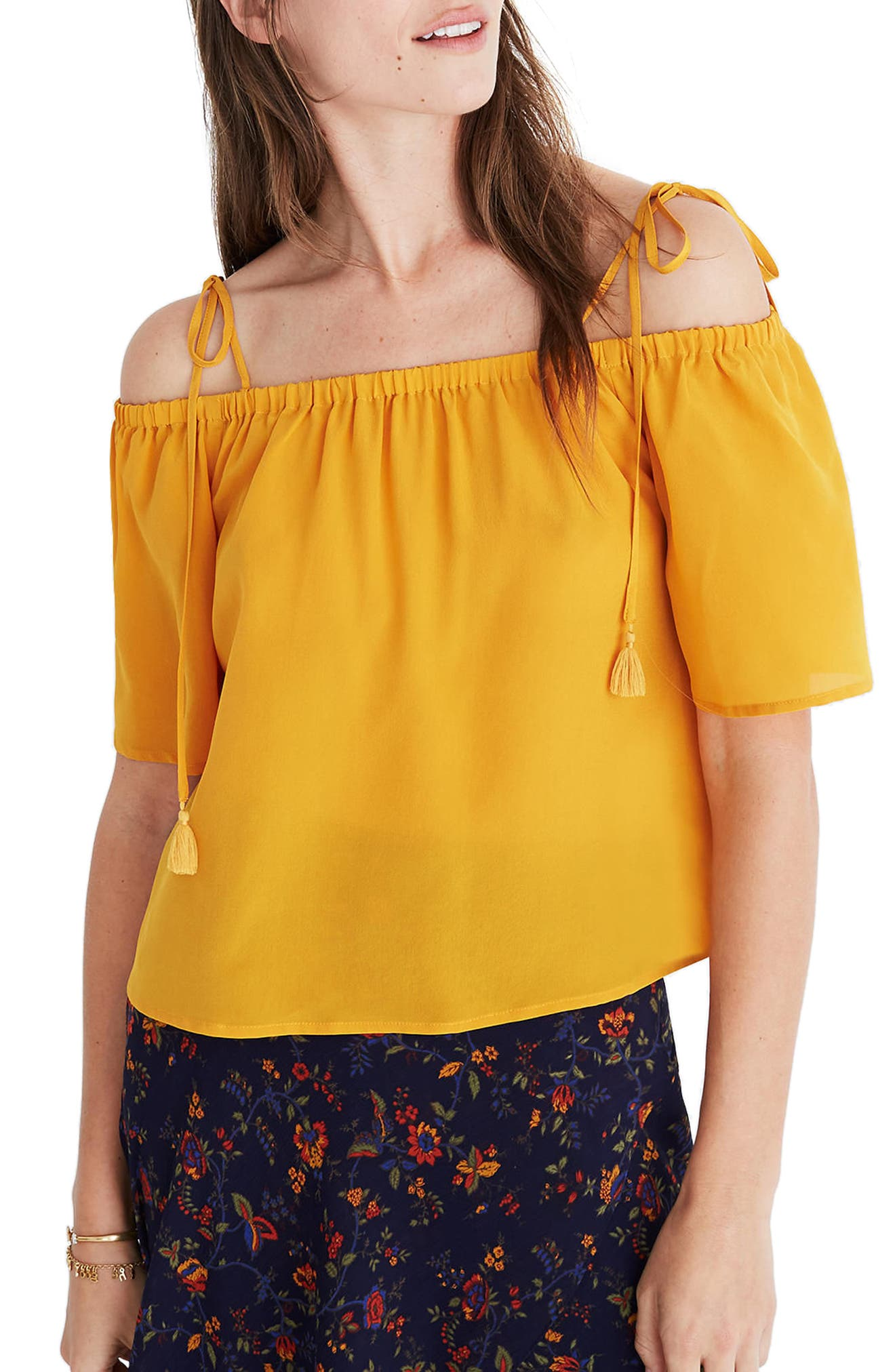 Main Image - Madewell Cold Shoulder Silk Top