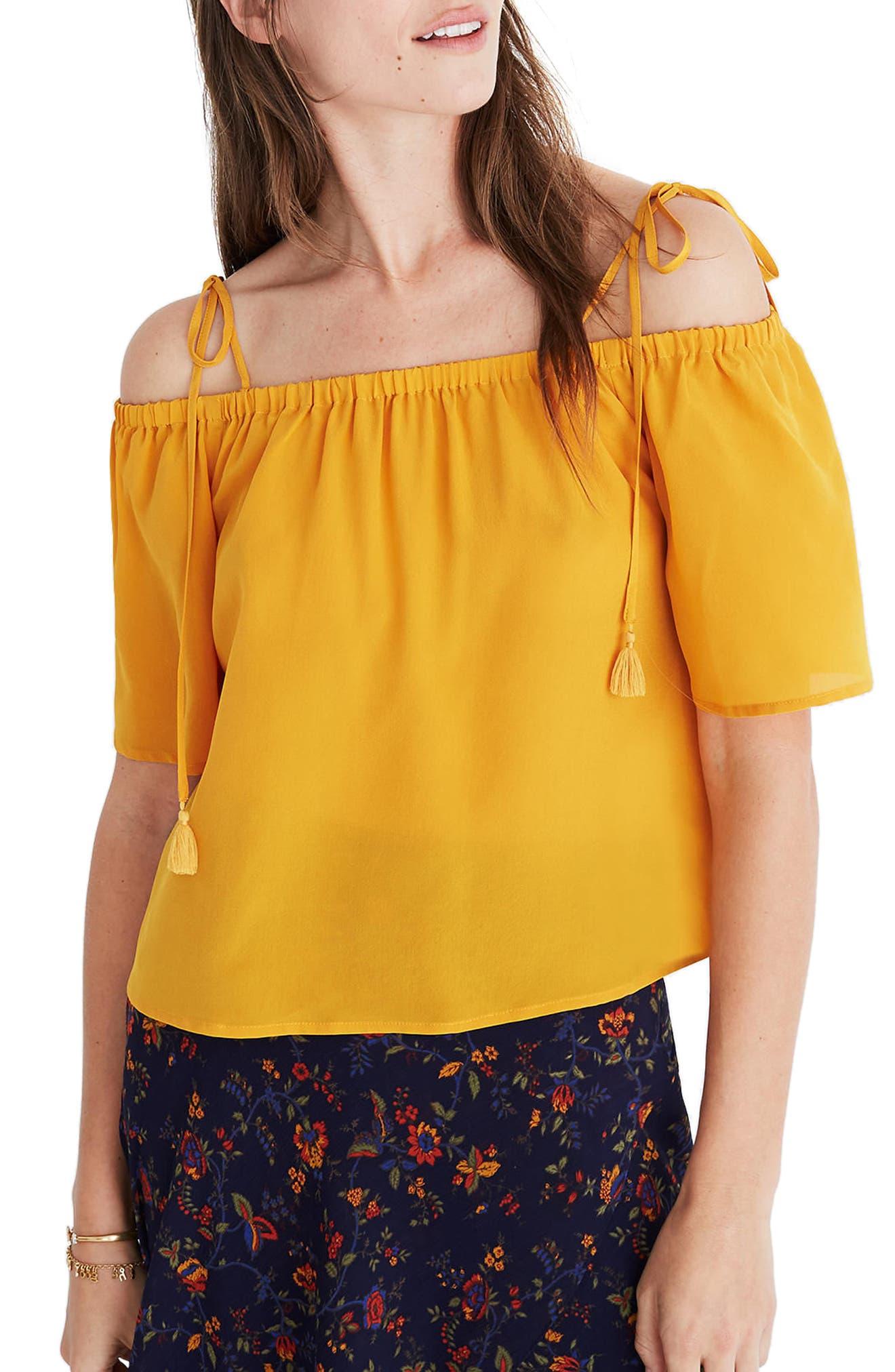 Cold Shoulder Silk Top,                         Main,                         color, Hayfield