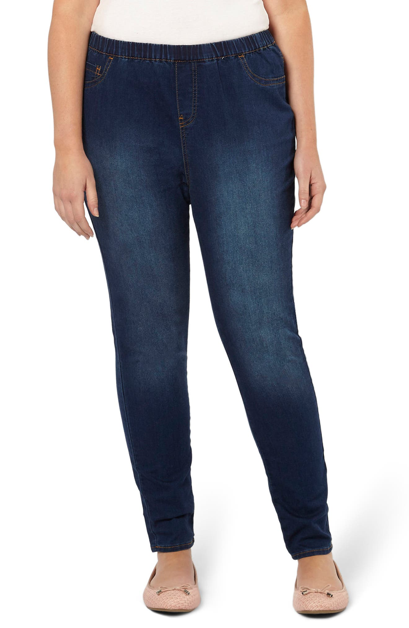Alternate Image 1 Selected - Evans Denim Leggings (Mid Wash) (Plus Size)