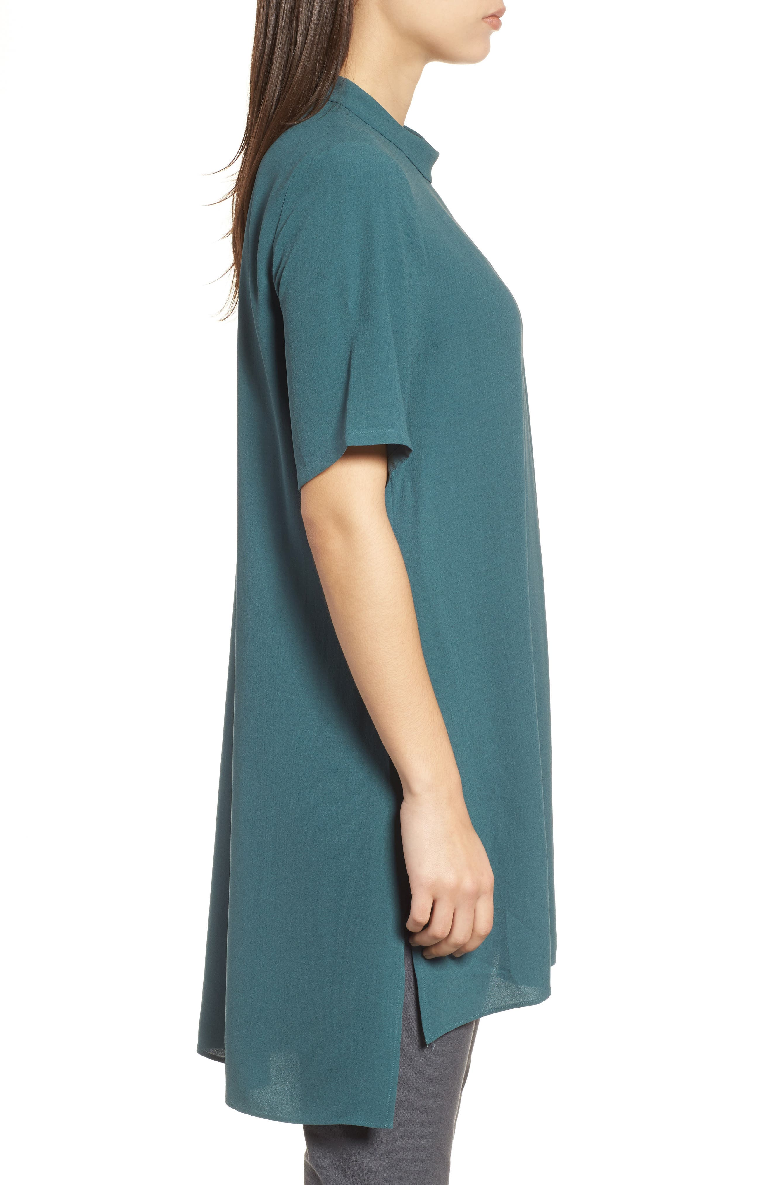 High Neck Silk Tunic,                             Alternate thumbnail 3, color,                             Dragonfly