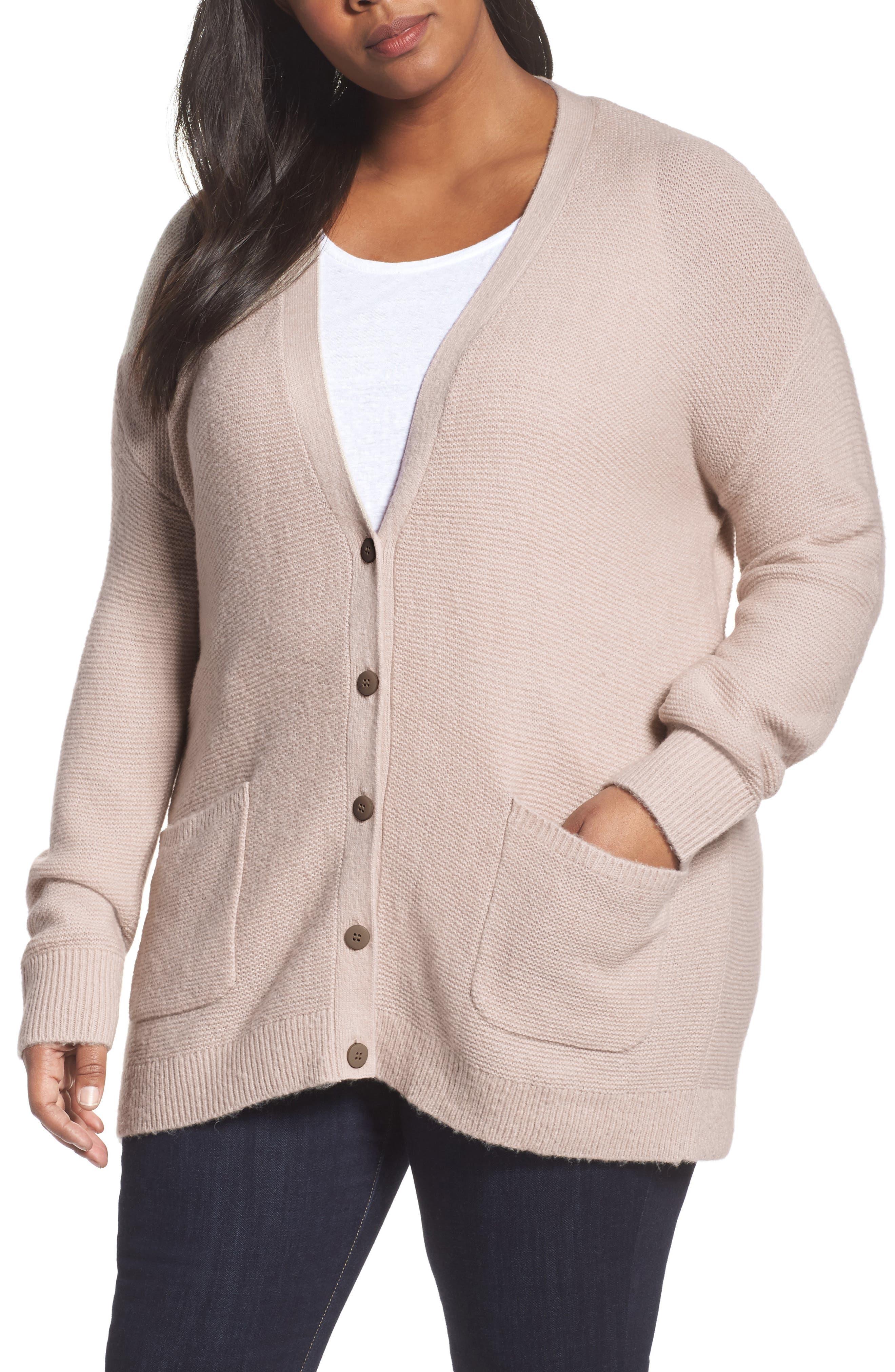 Main Image - Caslon® Long V-Neck Wool Blend Cardigan (Plus Size)