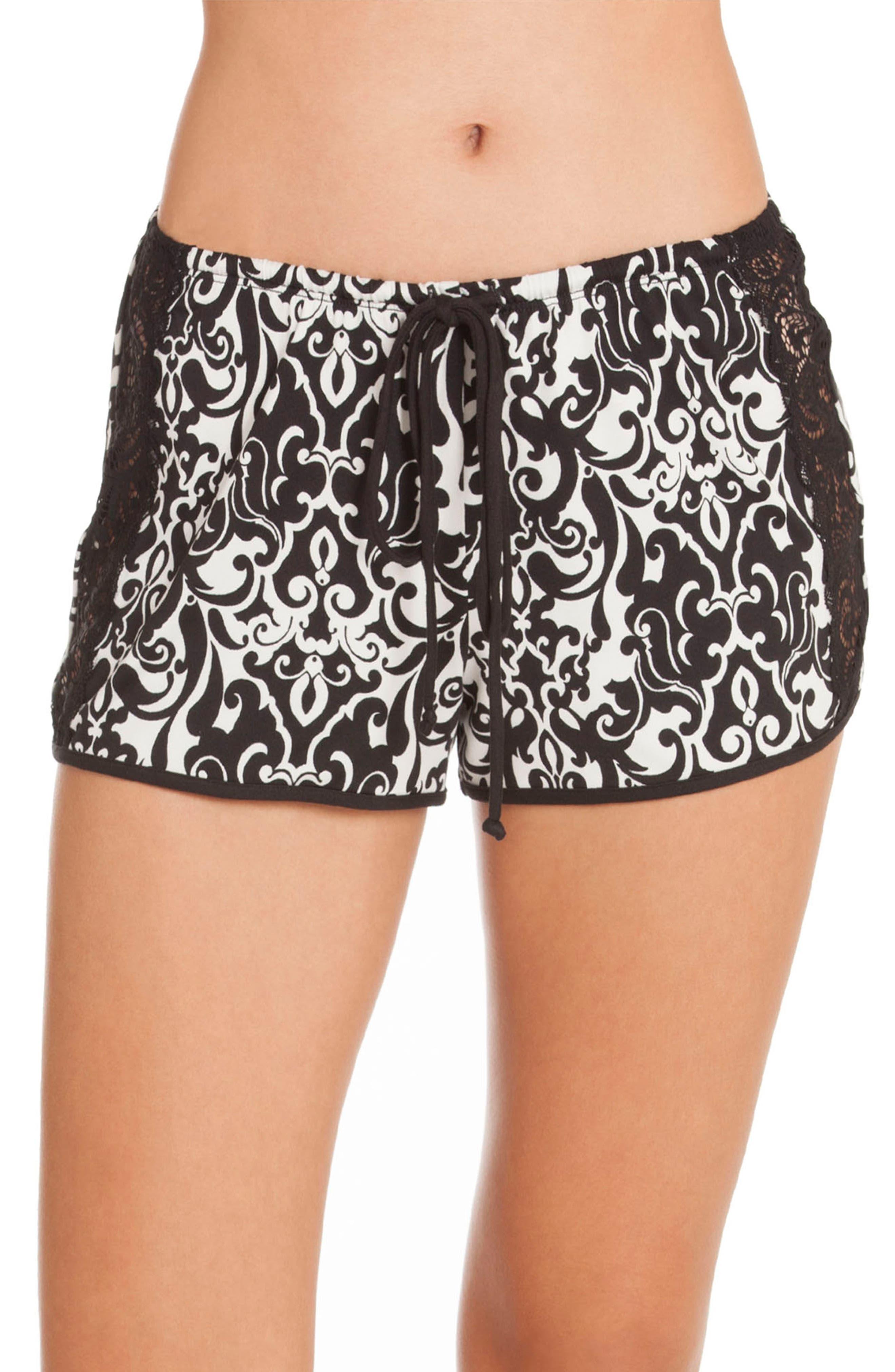 Konya Pajama Shorts,                         Main,                         color, Black/ Ivory