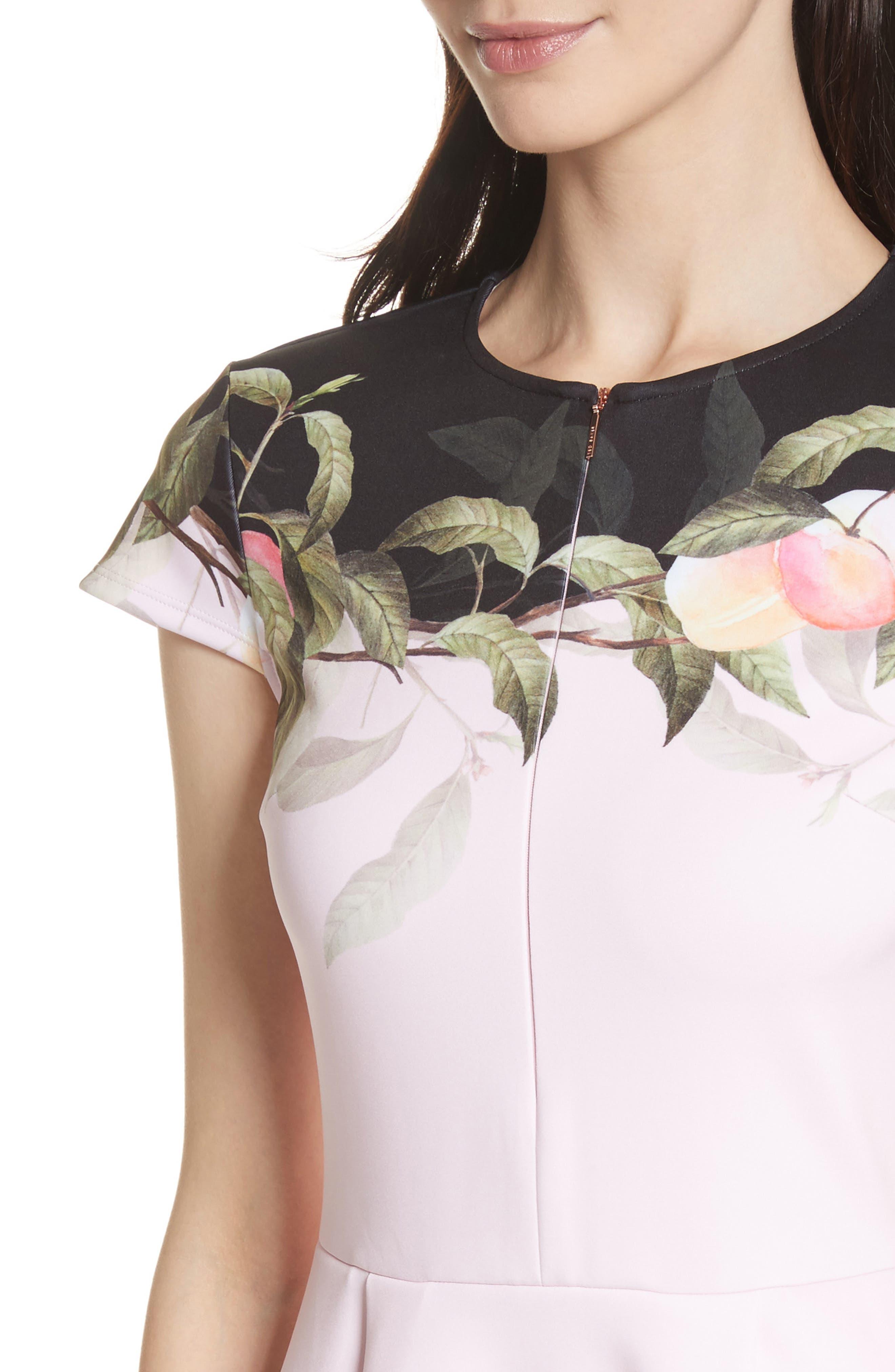 Peach Blossom Jersey Skater Dress,                             Alternate thumbnail 4, color,                             Light Pink