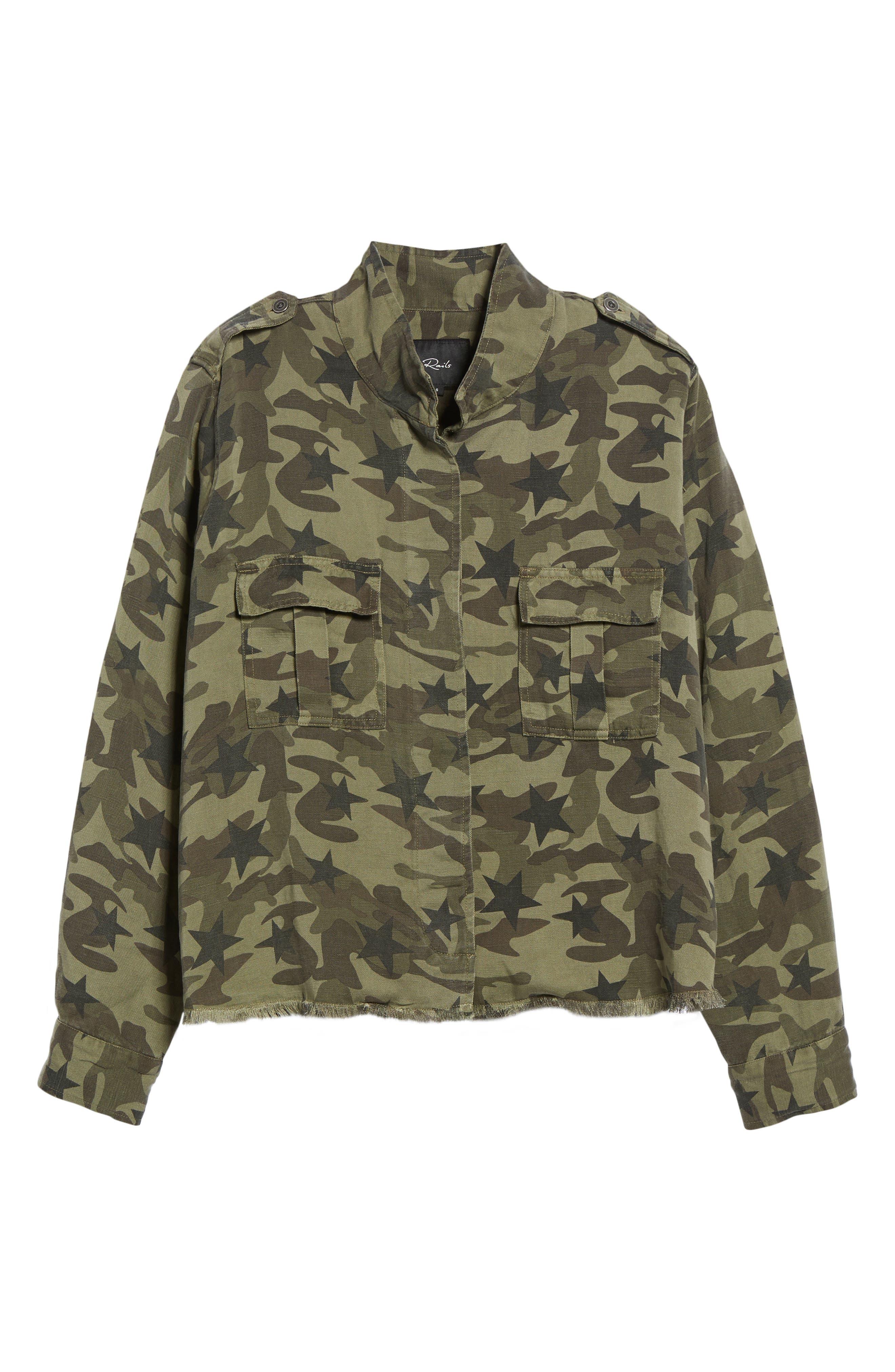 Hendrick Camo Military Jacket,                             Alternate thumbnail 6, color,                             Star Camo