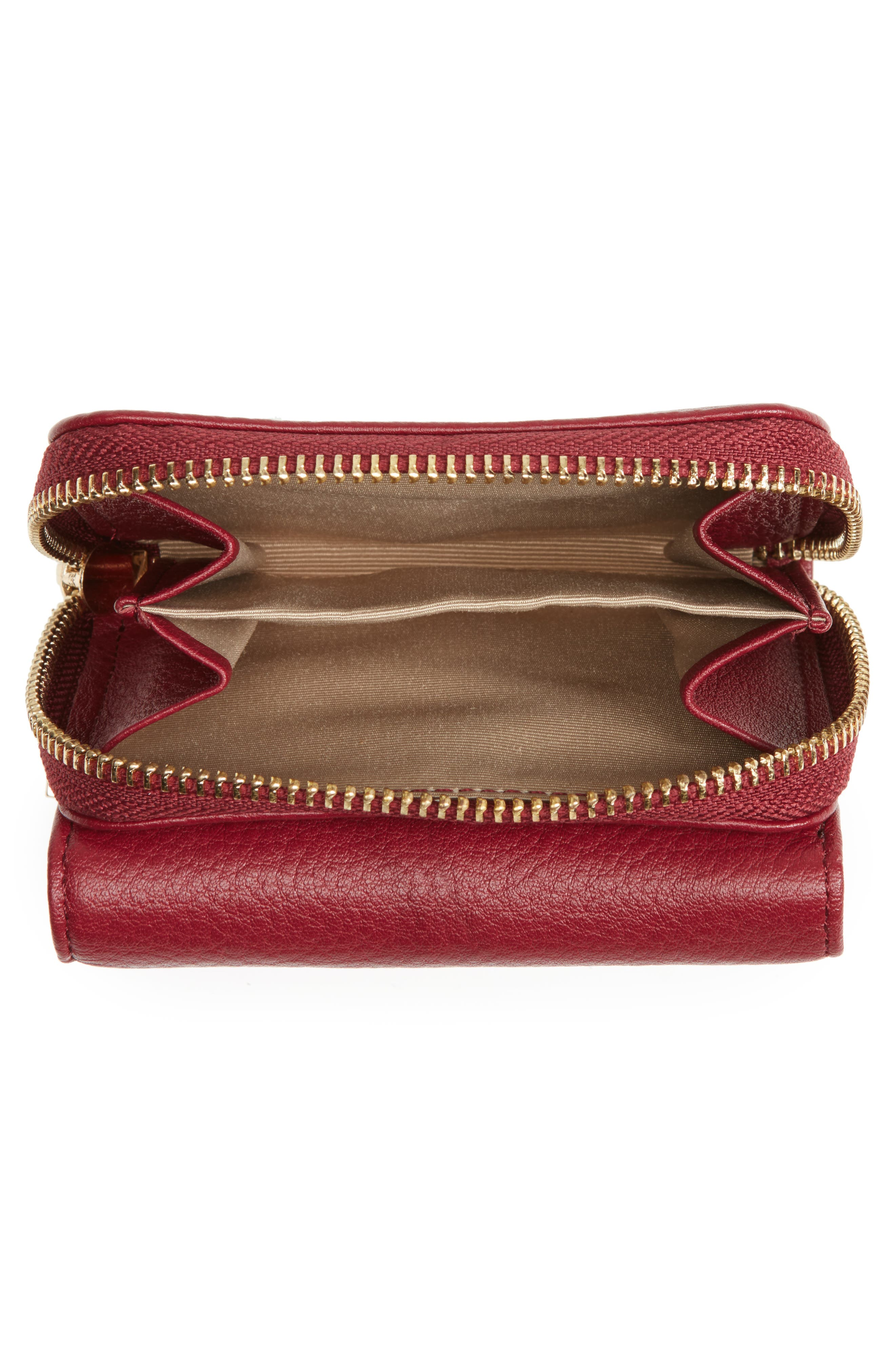 Céline Dion Small Adagio Leather Wallet,                             Alternate thumbnail 3, color,                             Dark Red