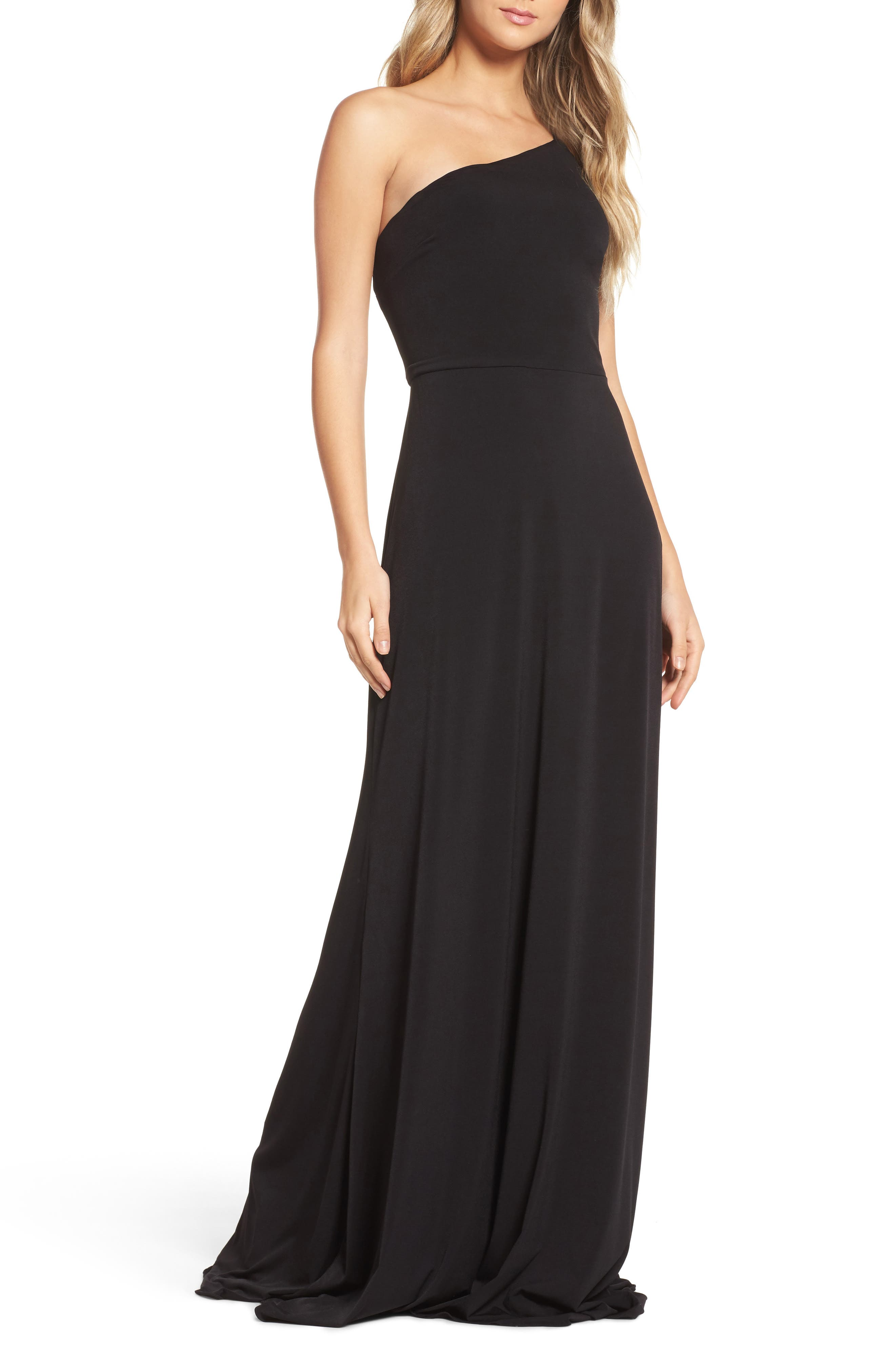 One-Shoulder Jersey Gown,                         Main,                         color, Black