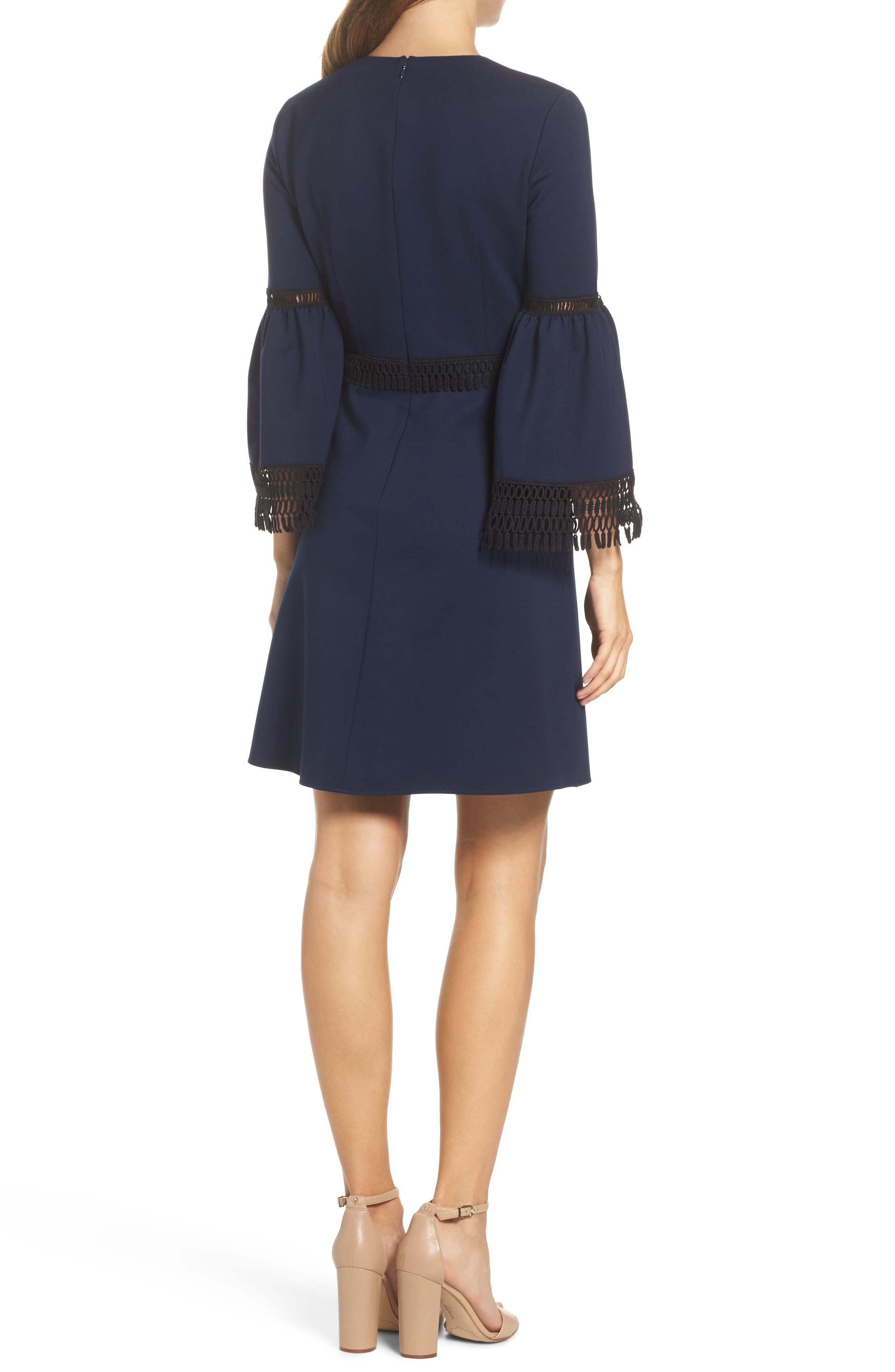 Vanessa Bell Sleeve Dress,                             Alternate thumbnail 2, color,                             Midnight Blue/ Black