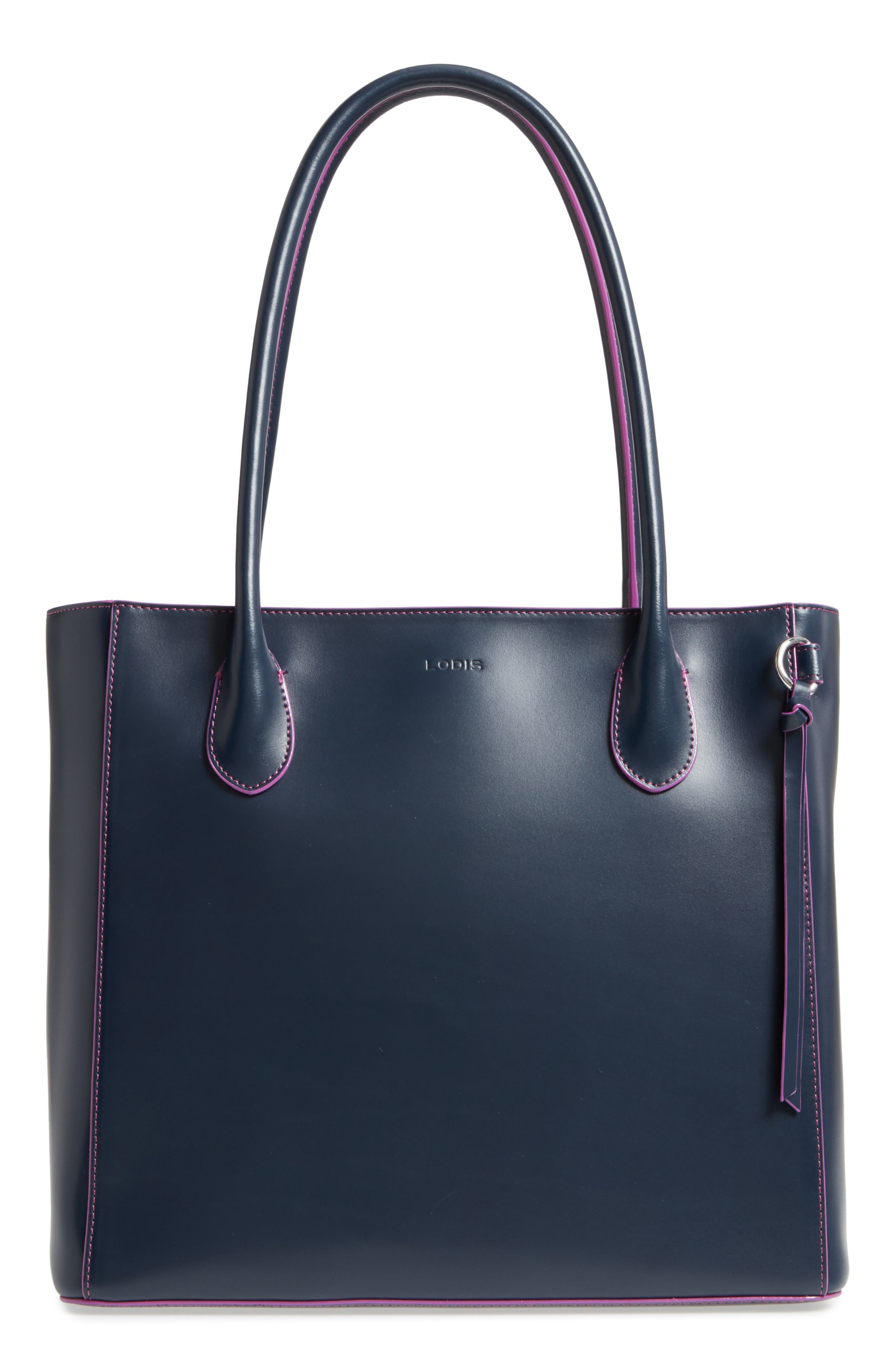 Cecily RFID Leather Tote,                         Main,                         color, Navy/ Orchid