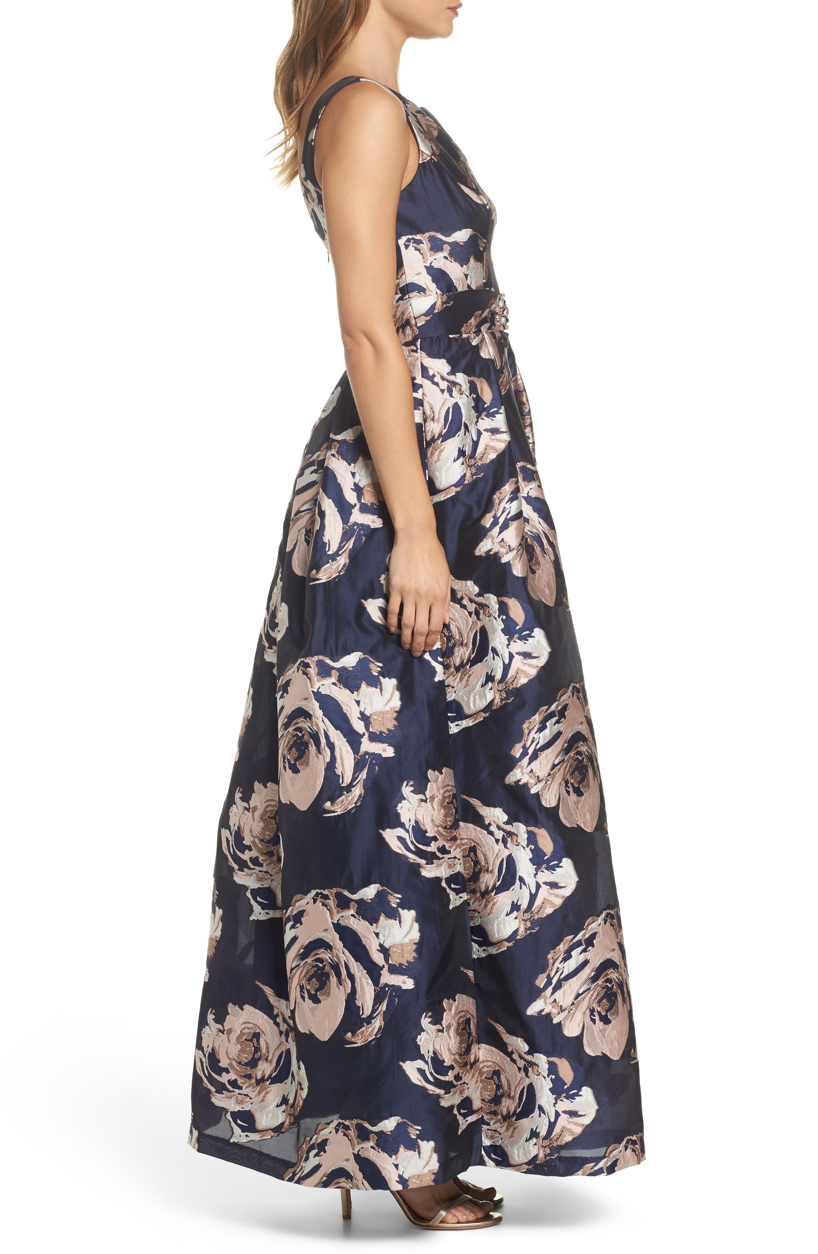 Embellished Floral Ballgown,                             Alternate thumbnail 3, color,                             Navy