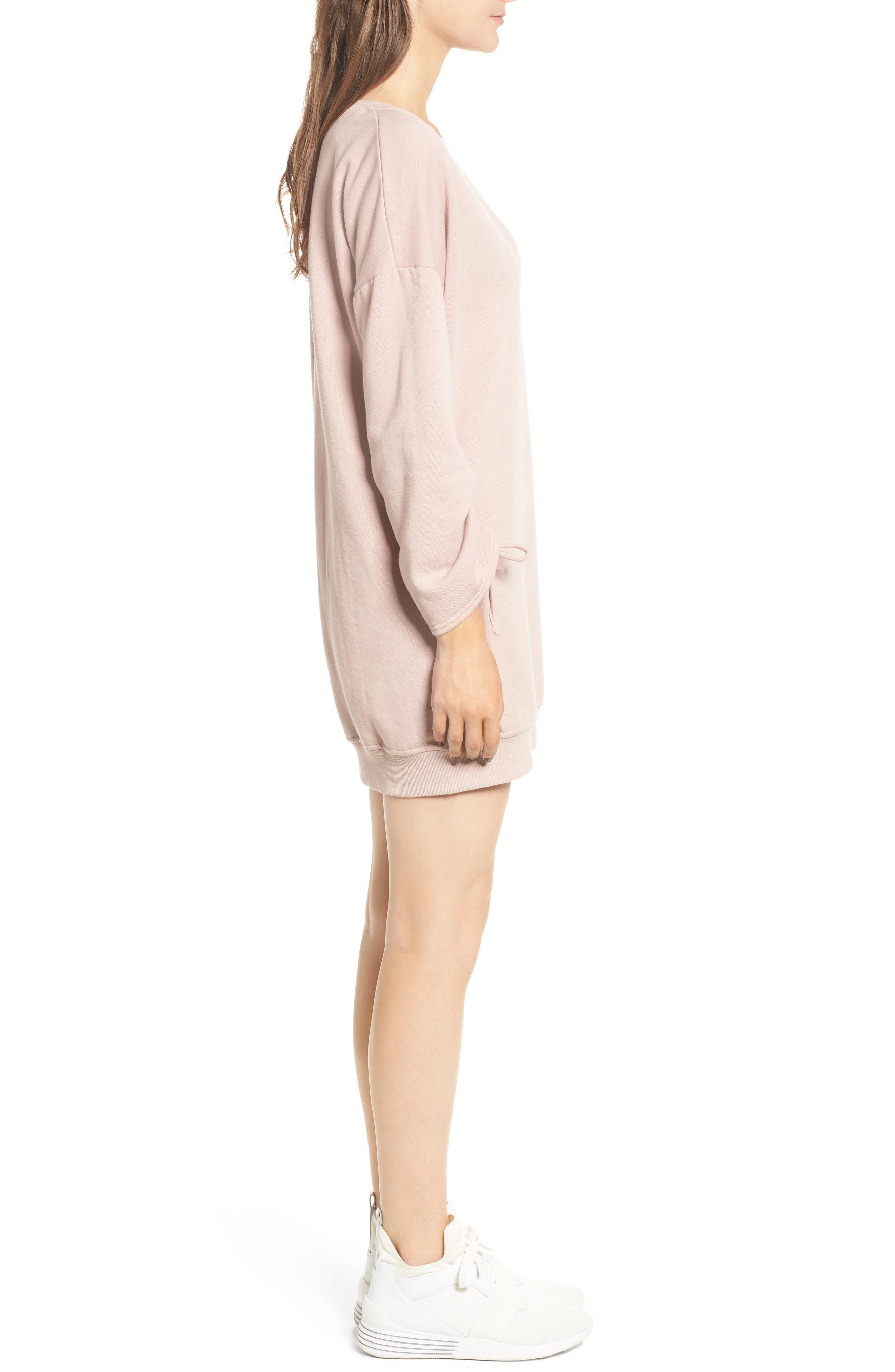 Alternate Image 3  - Cotton Emporium Ruched Sleeve Sweatshirt Dress