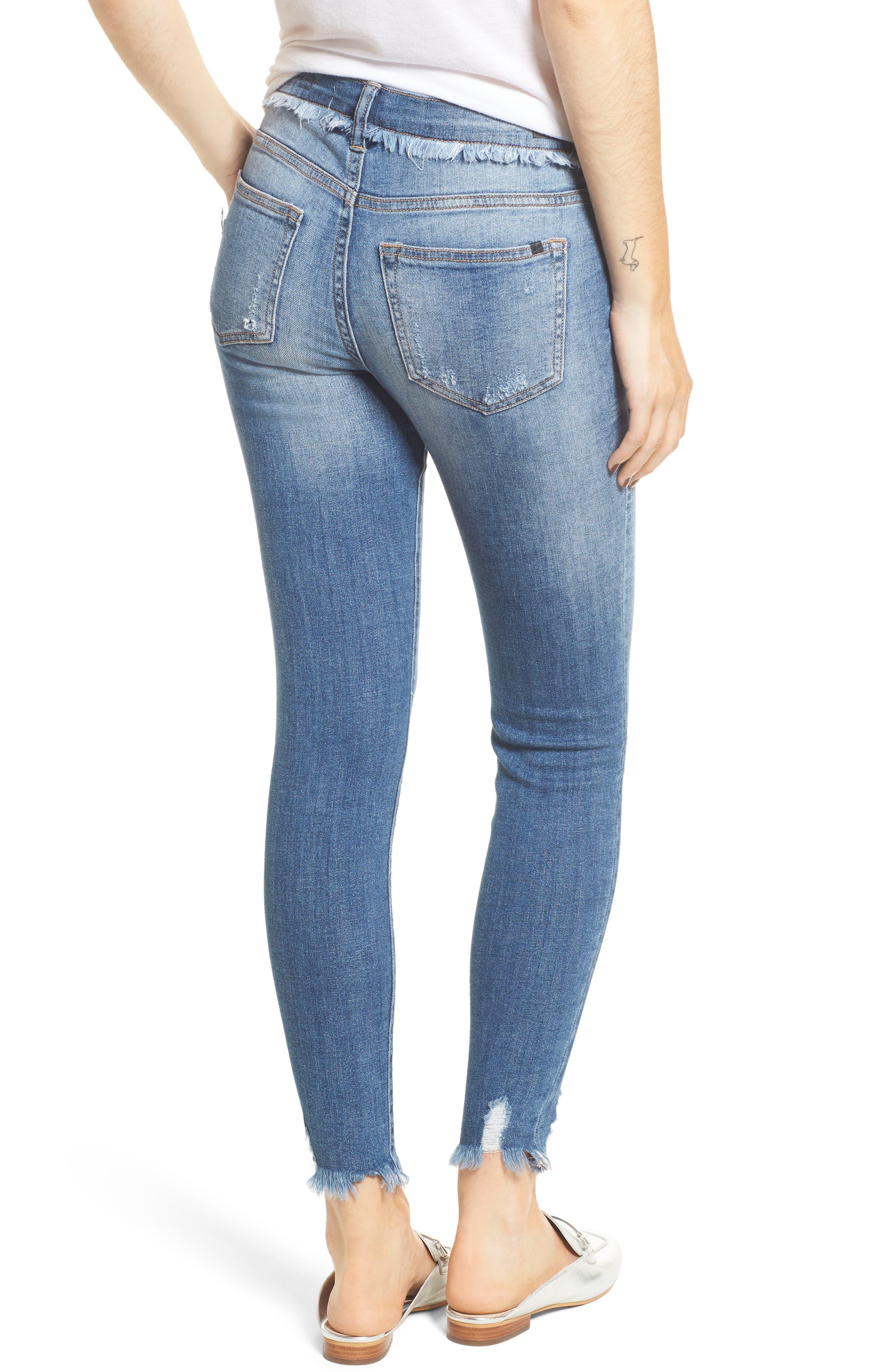 Frayed Waist Skinny Jeans,                             Alternate thumbnail 2, color,                             Medium Light