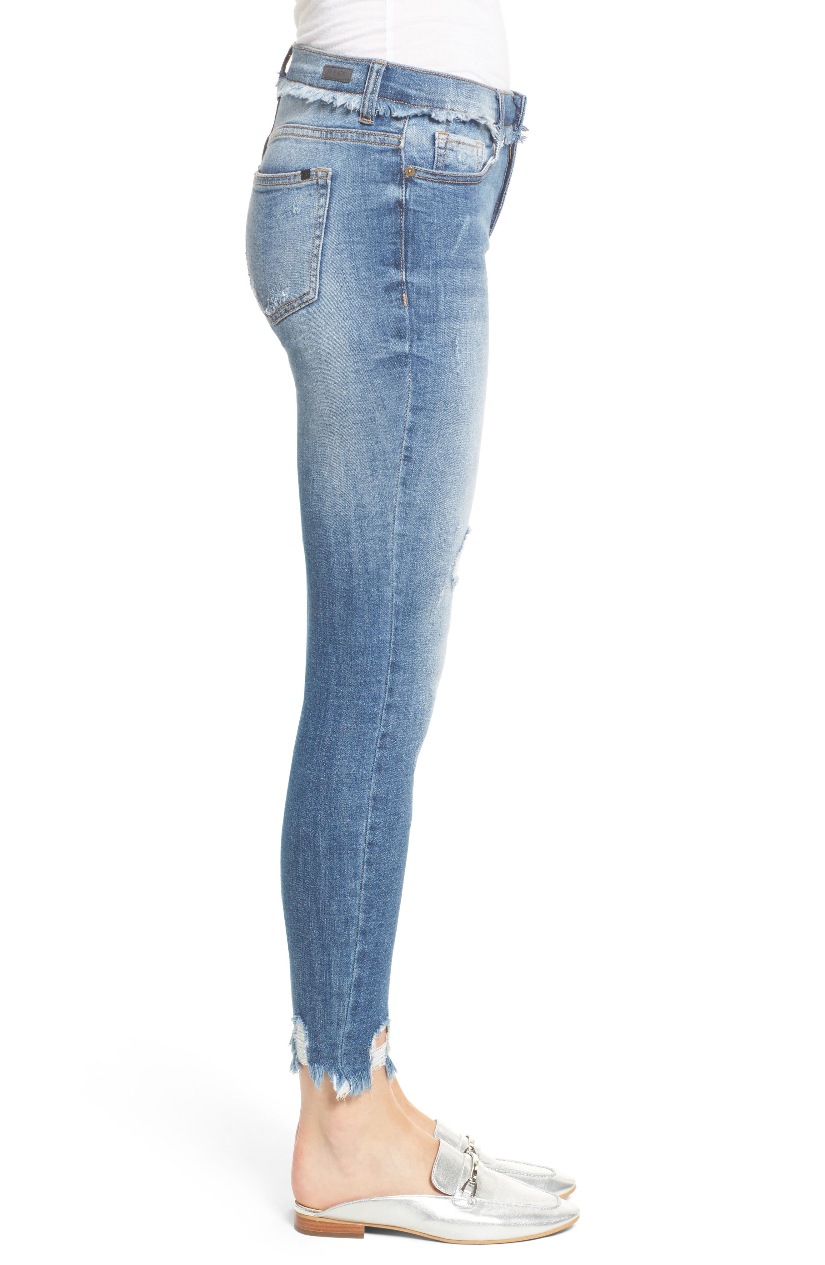Frayed Waist Skinny Jeans,                             Alternate thumbnail 3, color,                             Medium Light