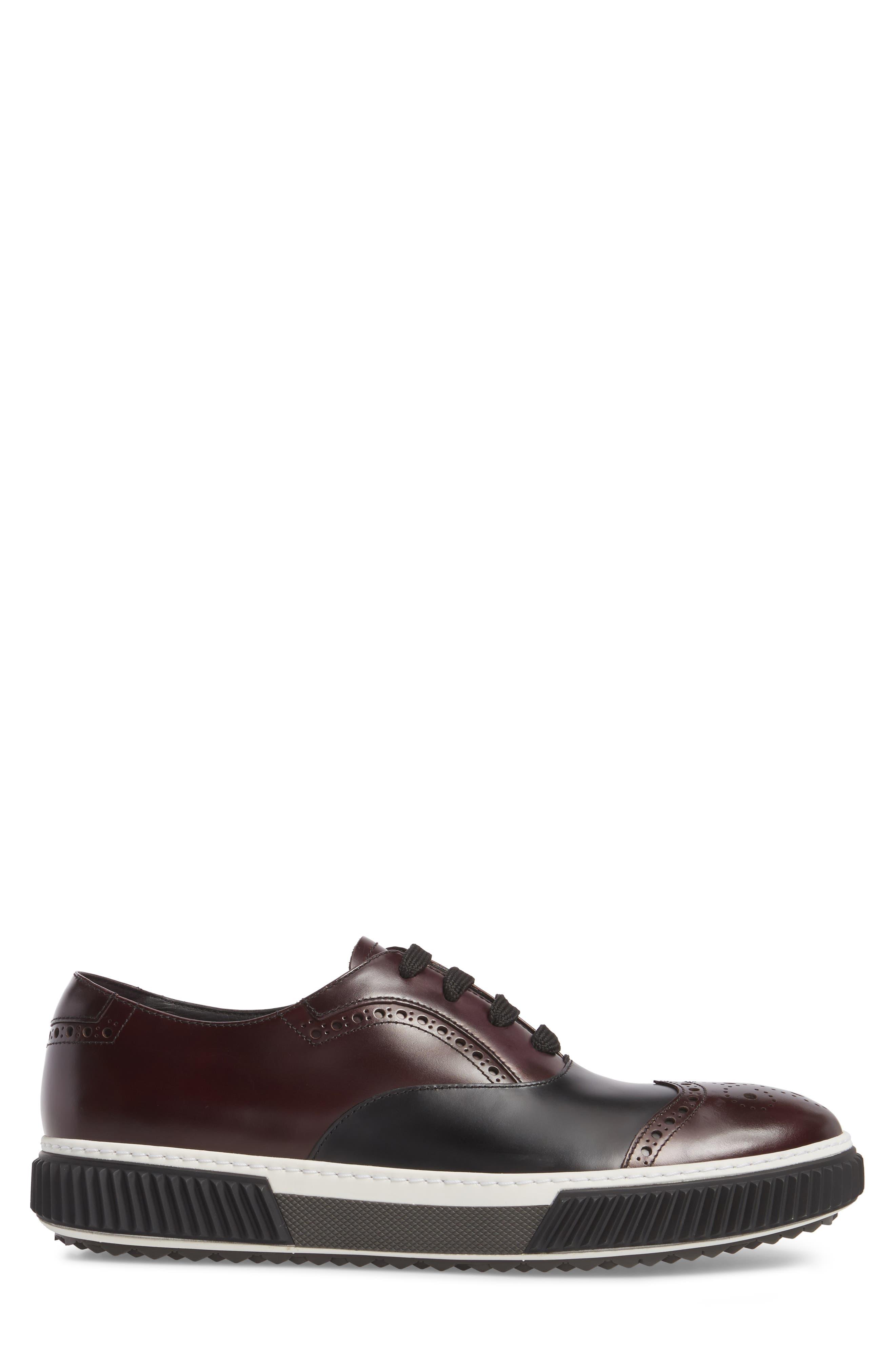 Linea Rossa Wingtip Sneaker,                             Alternate thumbnail 3, color,                             Cordovan Nero