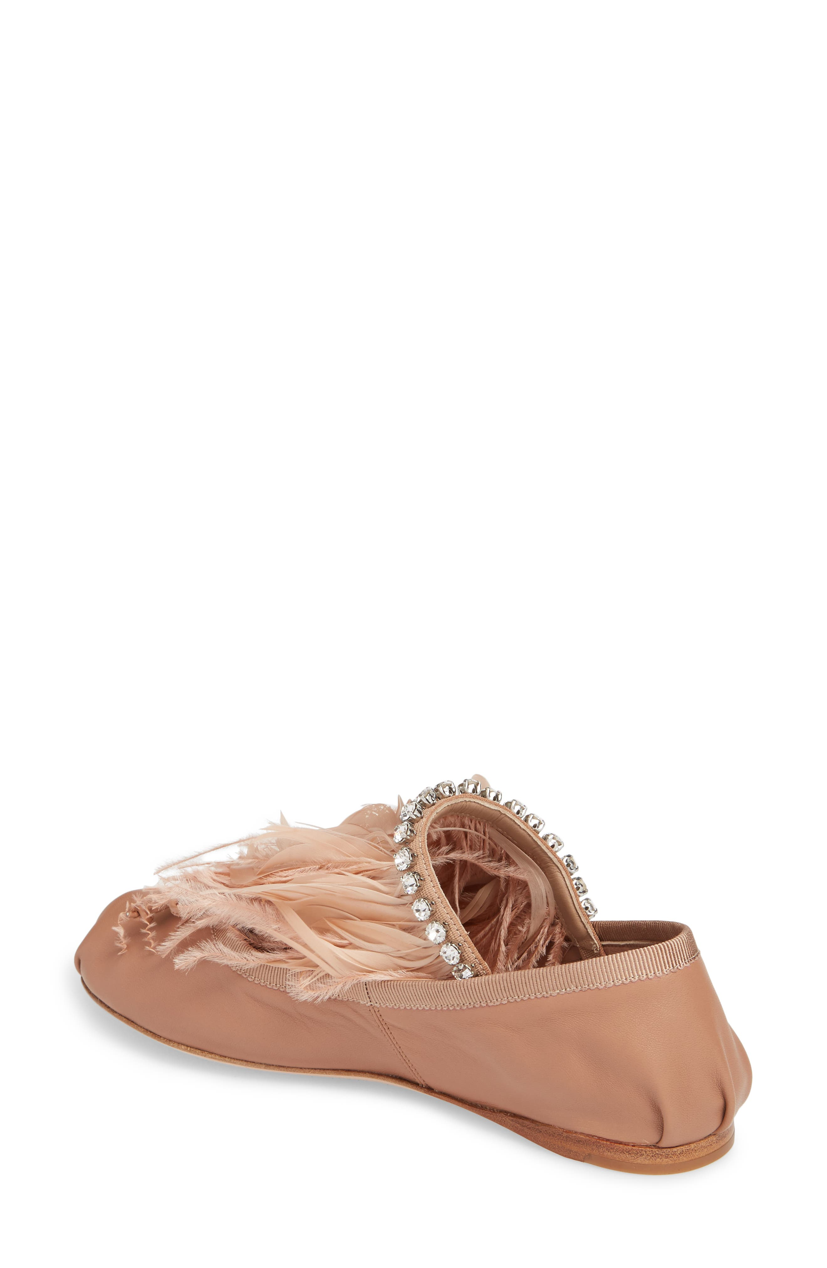 Feather Embellished Ballet Flat,                             Alternate thumbnail 2, color,                             Pink