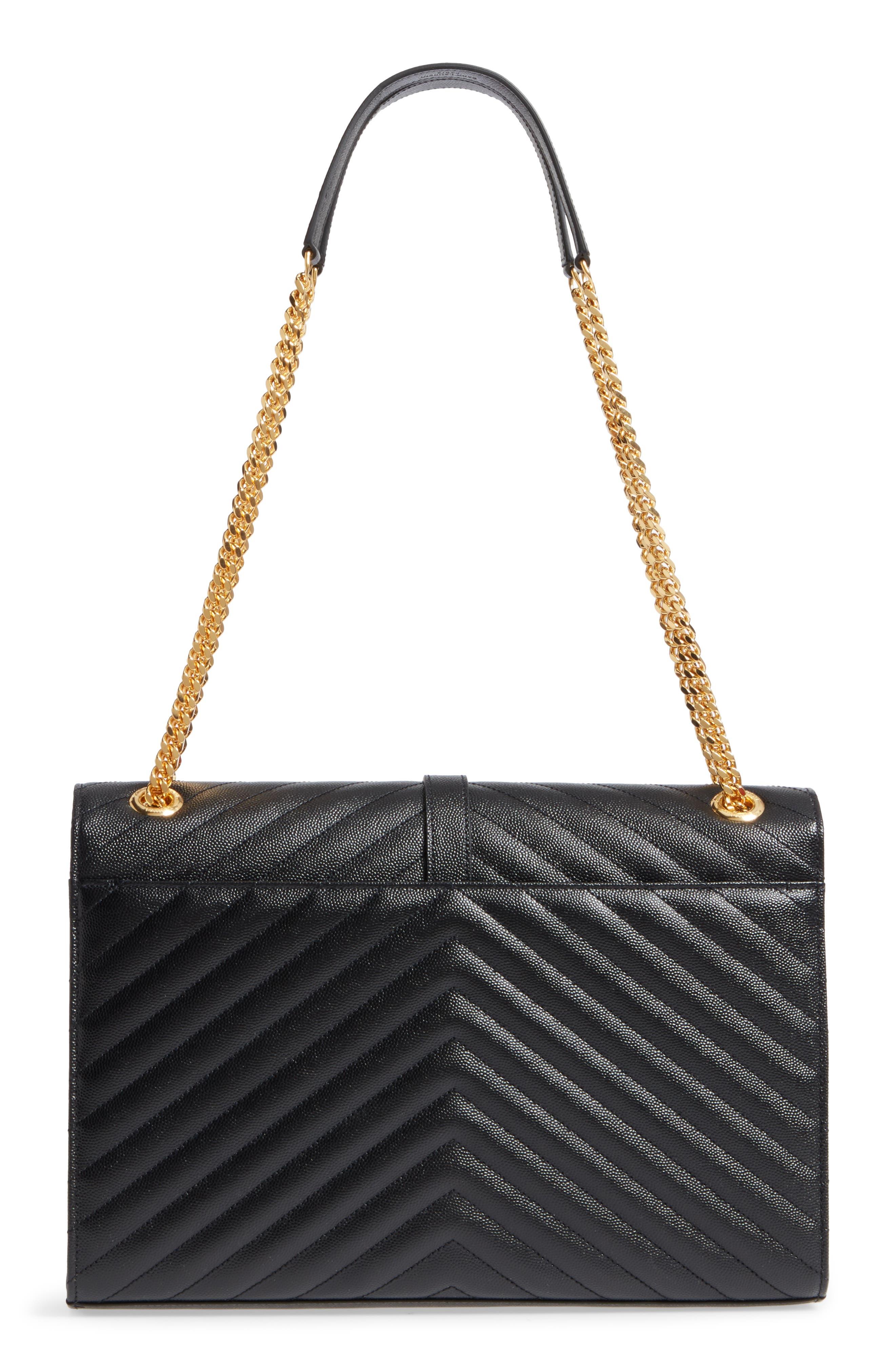 Medium Grained Matelassé Quilted Leather Shoulder Bag,                             Alternate thumbnail 3, color,                             Noir