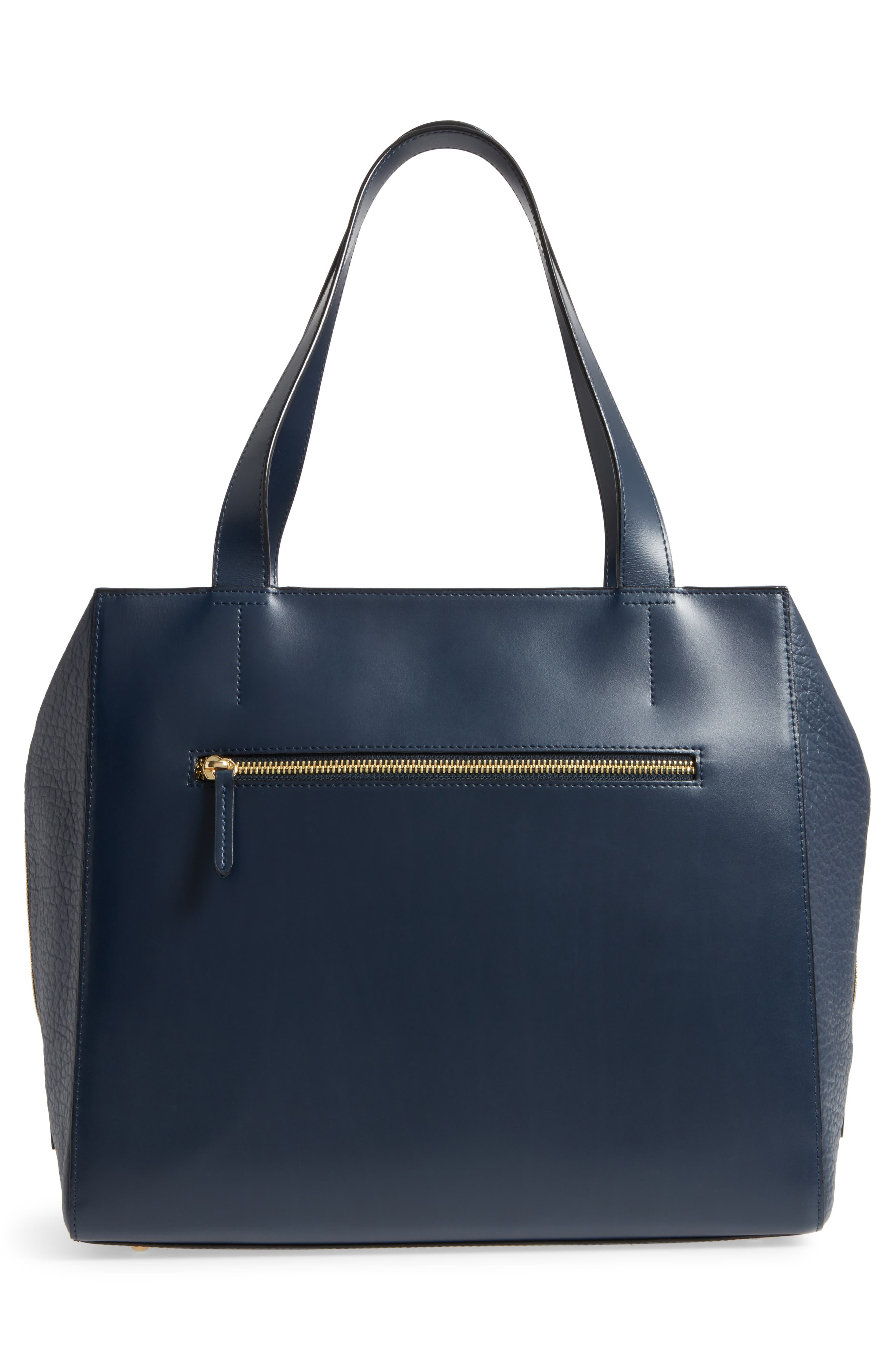 In the Mix Doris RFID Leather Work Tote,                             Alternate thumbnail 3, color,                             Navy