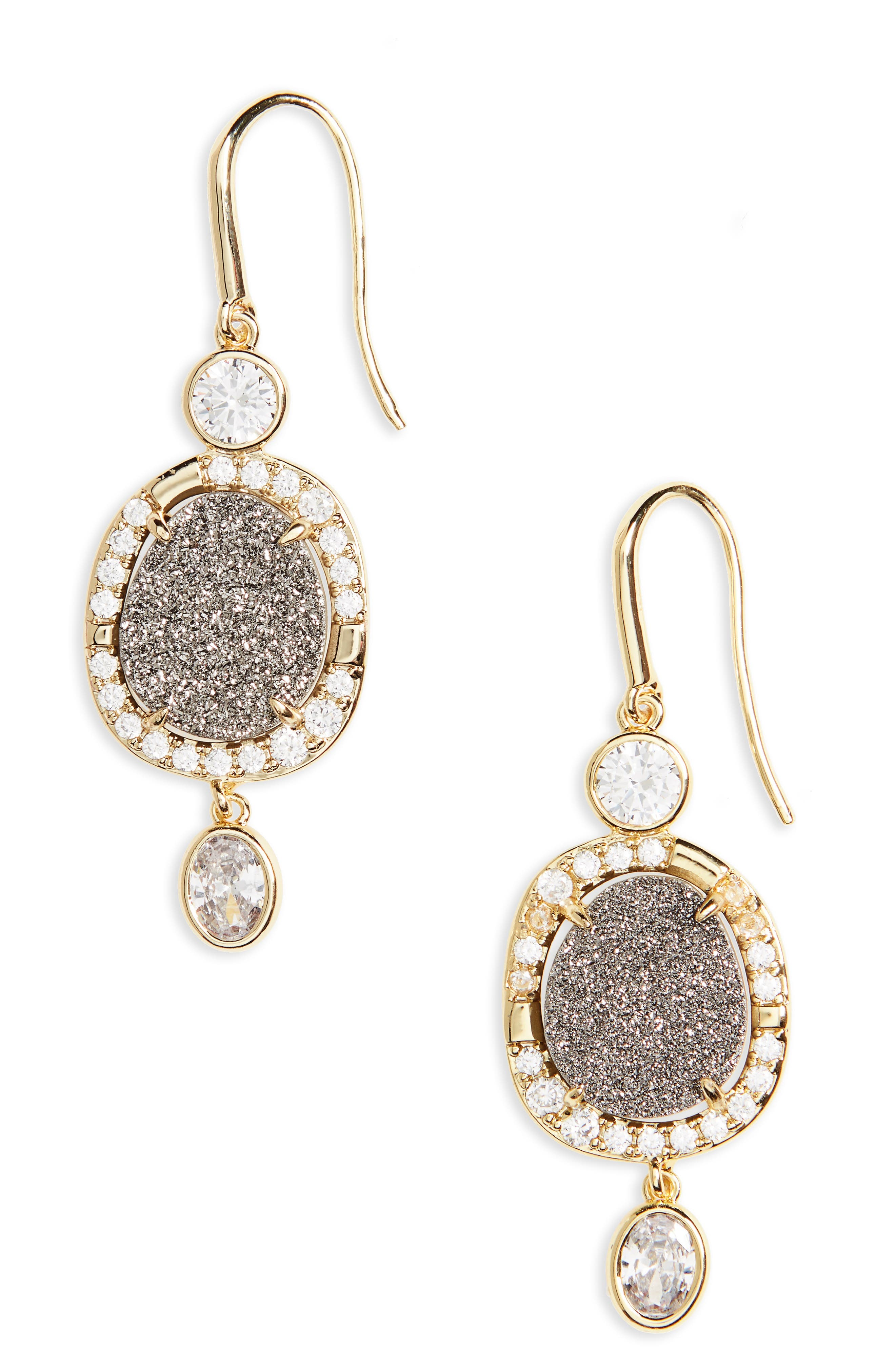 MC Drusy Drop Earrings,                         Main,                         color, Grey Druzy/ Gold