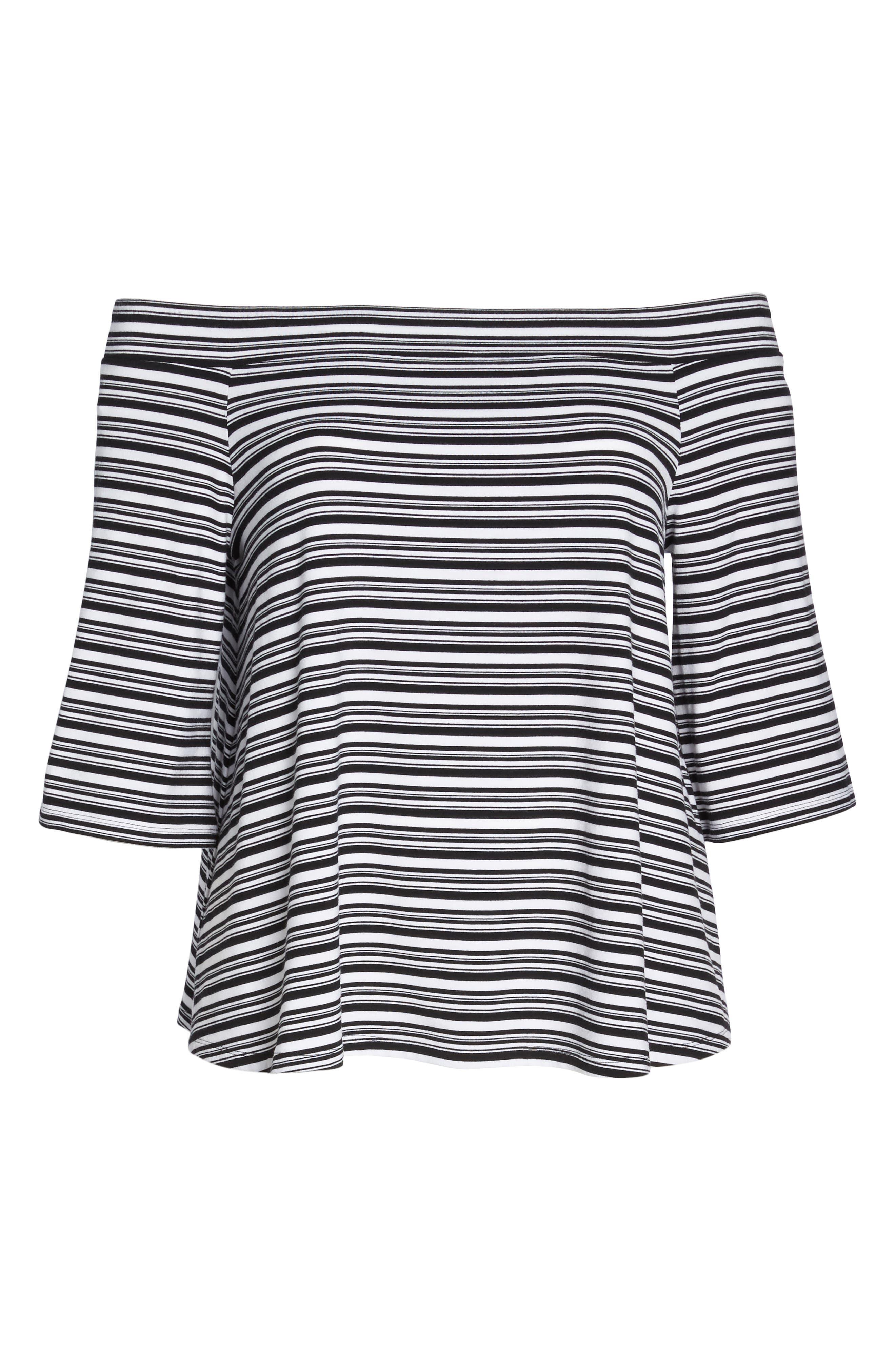 Stripe Off the Shoulder Top,                             Alternate thumbnail 6, color,                             Black- White Veriegated Stripe