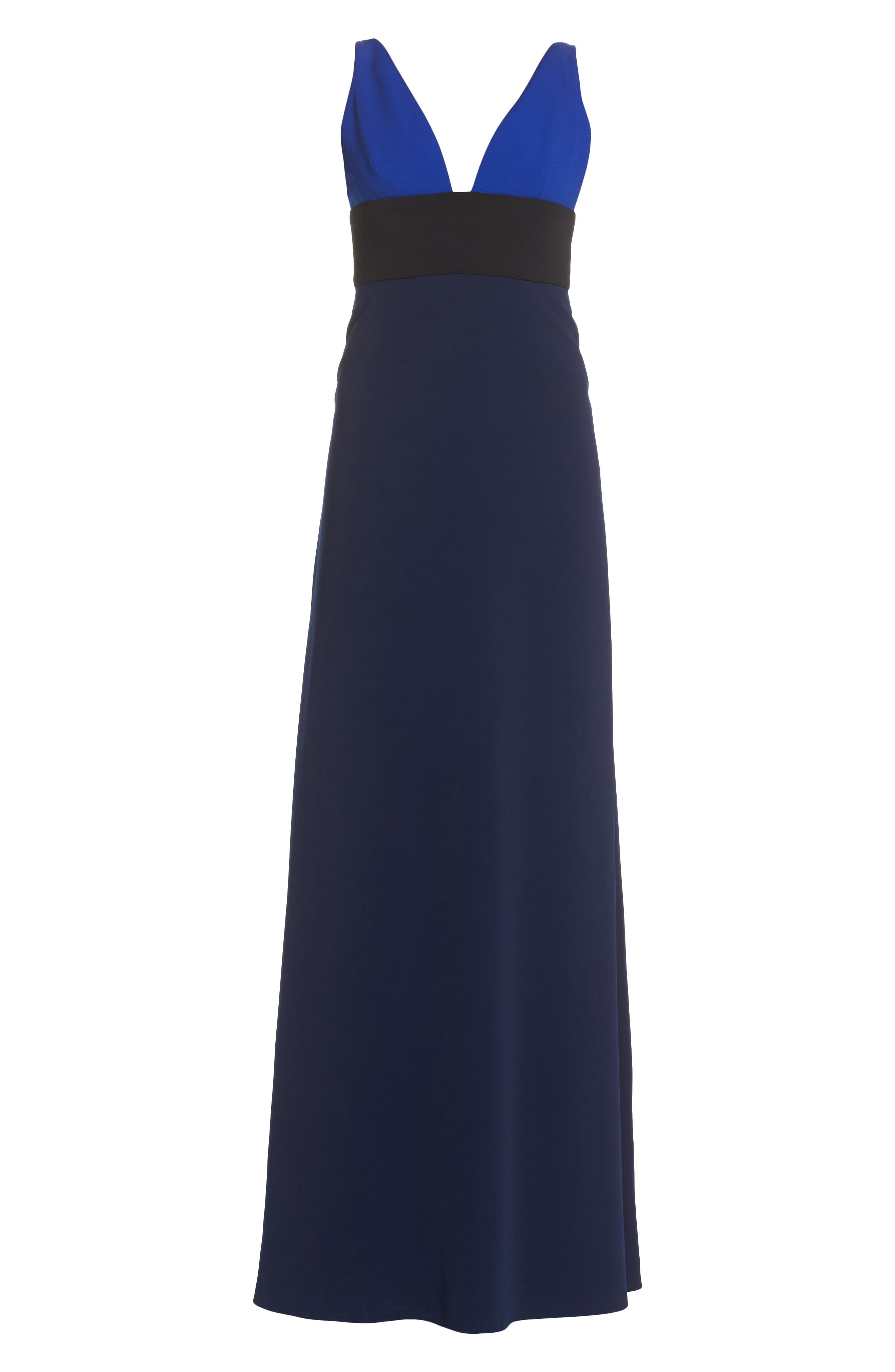 Colorblock V-Neck Gown,                             Alternate thumbnail 6, color,                             China Blue/ Black/ Midnight