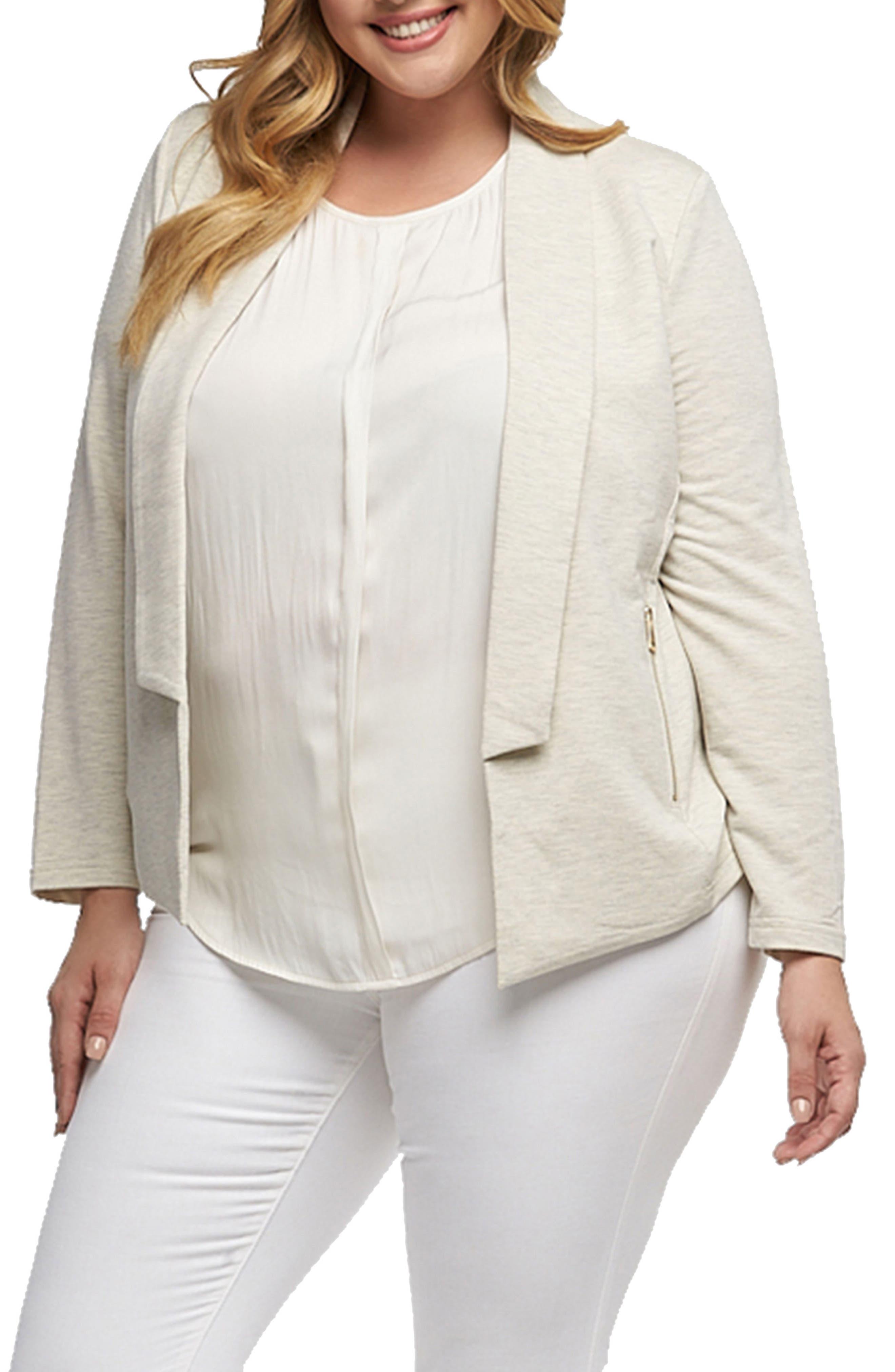 Nisha Knit Blazer,                         Main,                         color, Heather Oatmeal