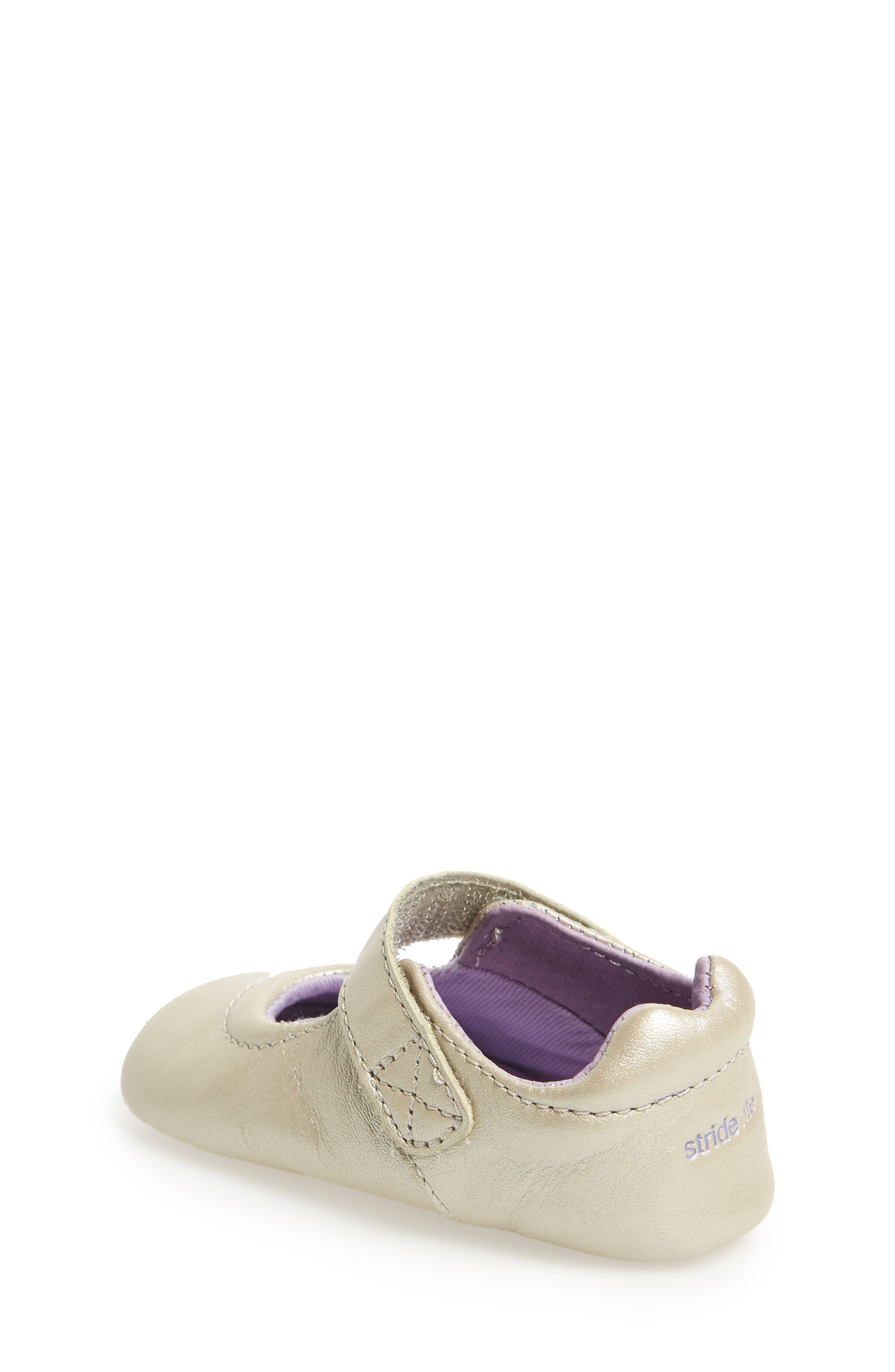 Liza Mary Jane Crib Shoe,                             Alternate thumbnail 2, color,                             Champagne Leather