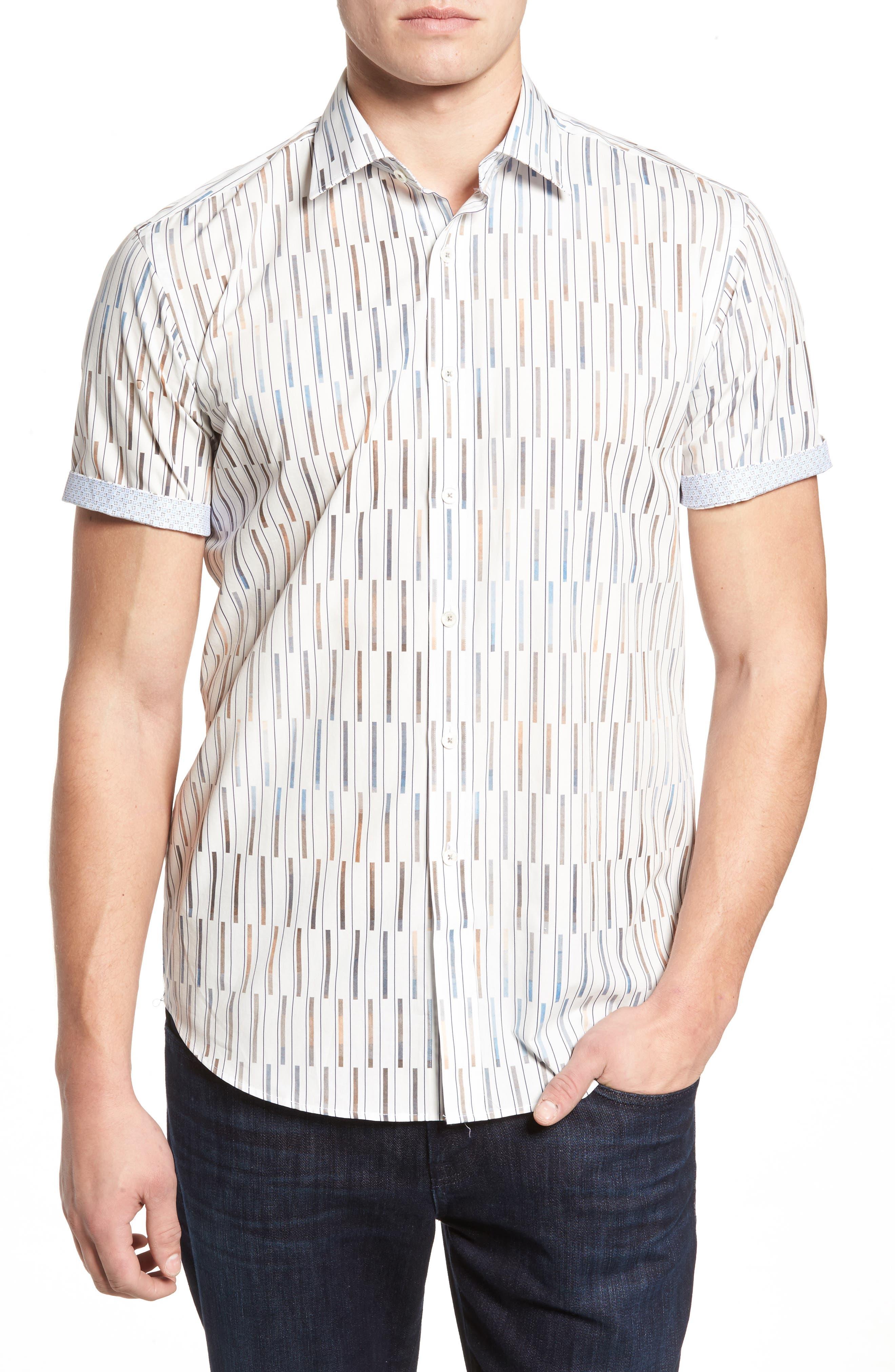 Shaped Fit Print Sport Shirt,                         Main,                         color, Chalk