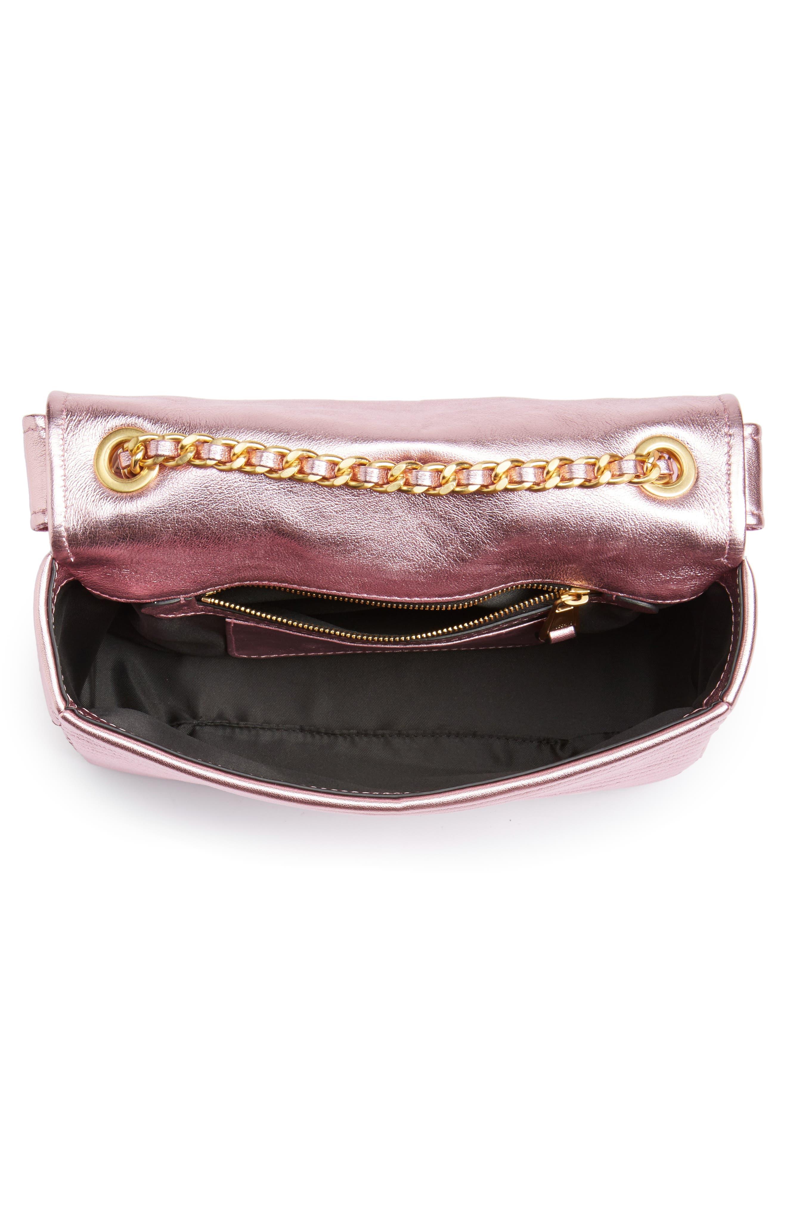 x My Little Pony Biker Jacket Metallic Leather Crossbody Bag,                             Alternate thumbnail 4, color,                             Pink