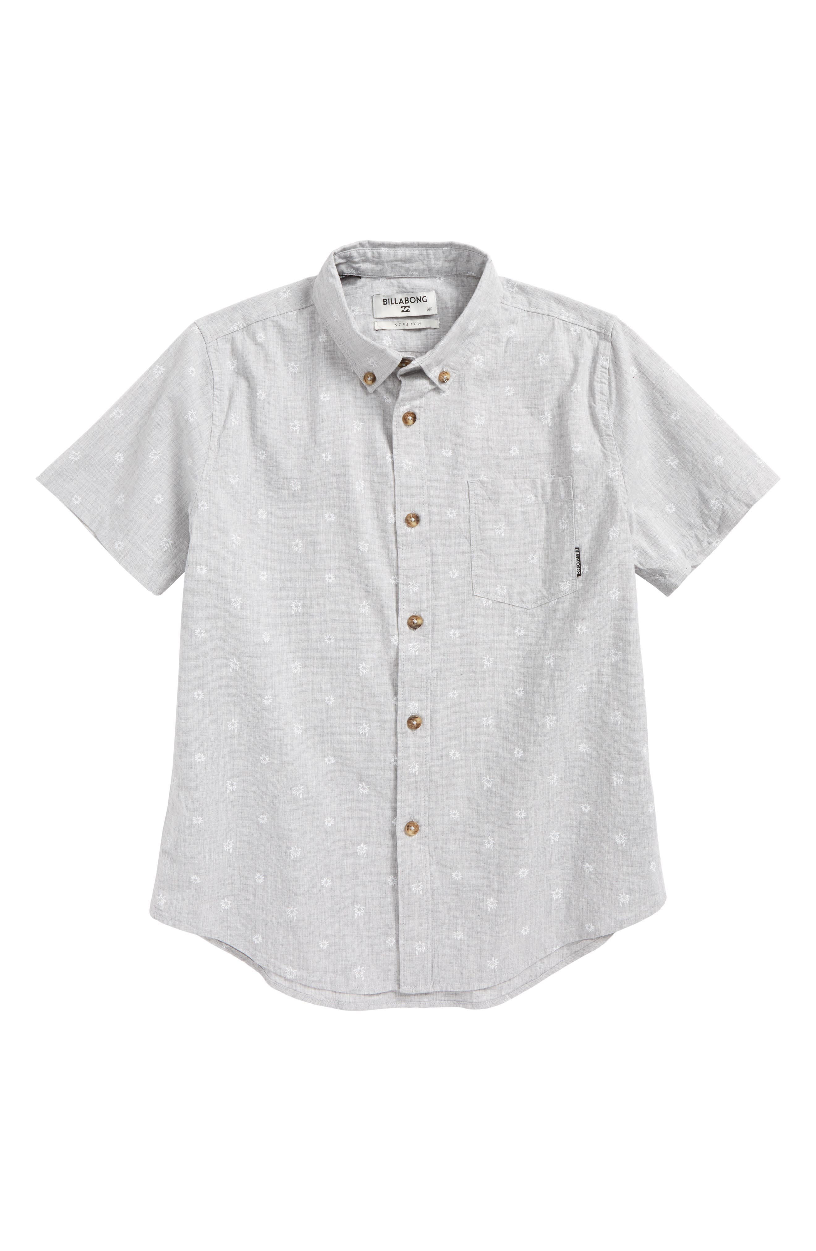 Sundays Mini Short Sleeve Woven Shirt,                             Main thumbnail 1, color,                             Light Grey Heather