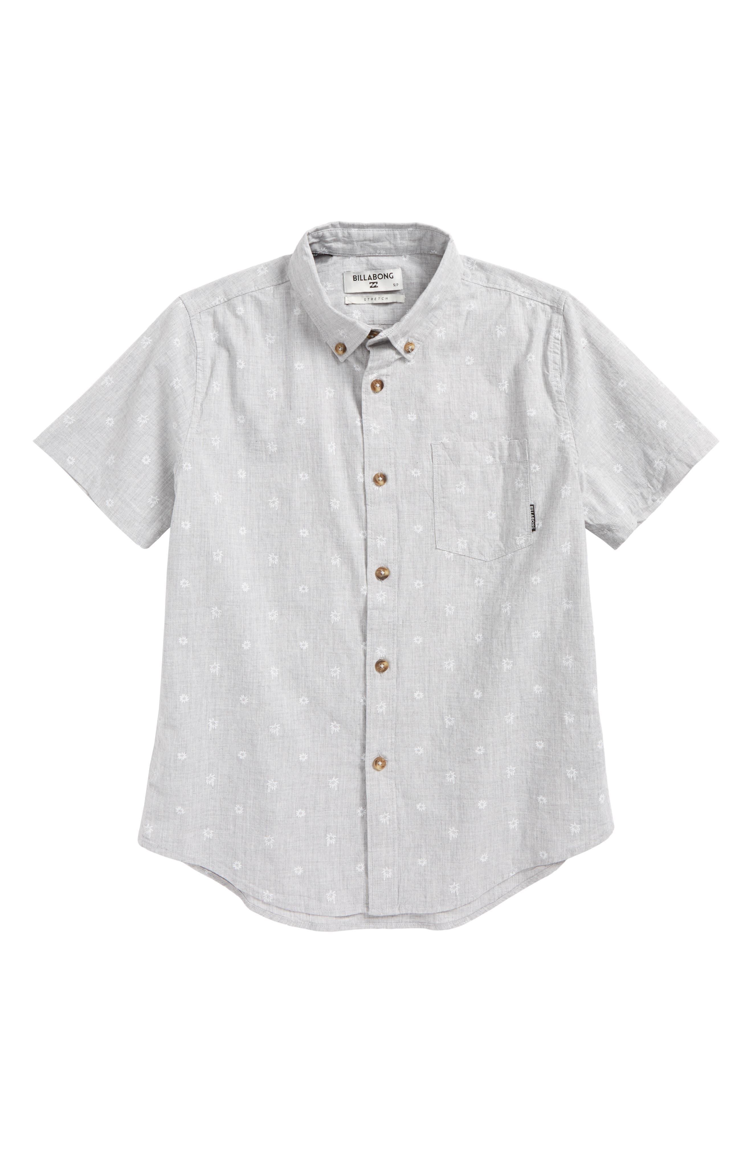Sundays Mini Short Sleeve Woven Shirt,                         Main,                         color, Light Grey Heather