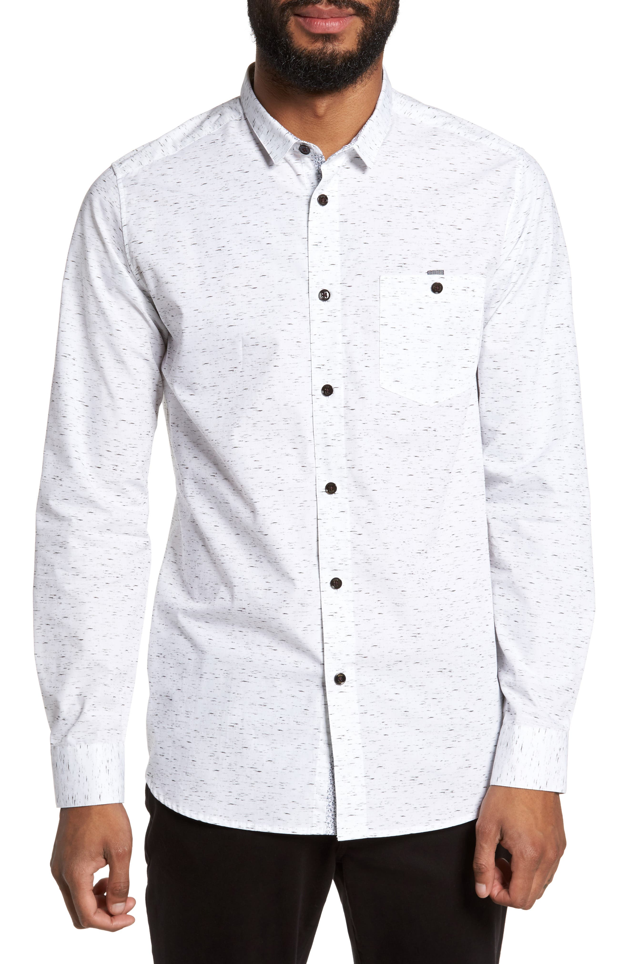 Nep Print Sport Shirt,                         Main,                         color, White