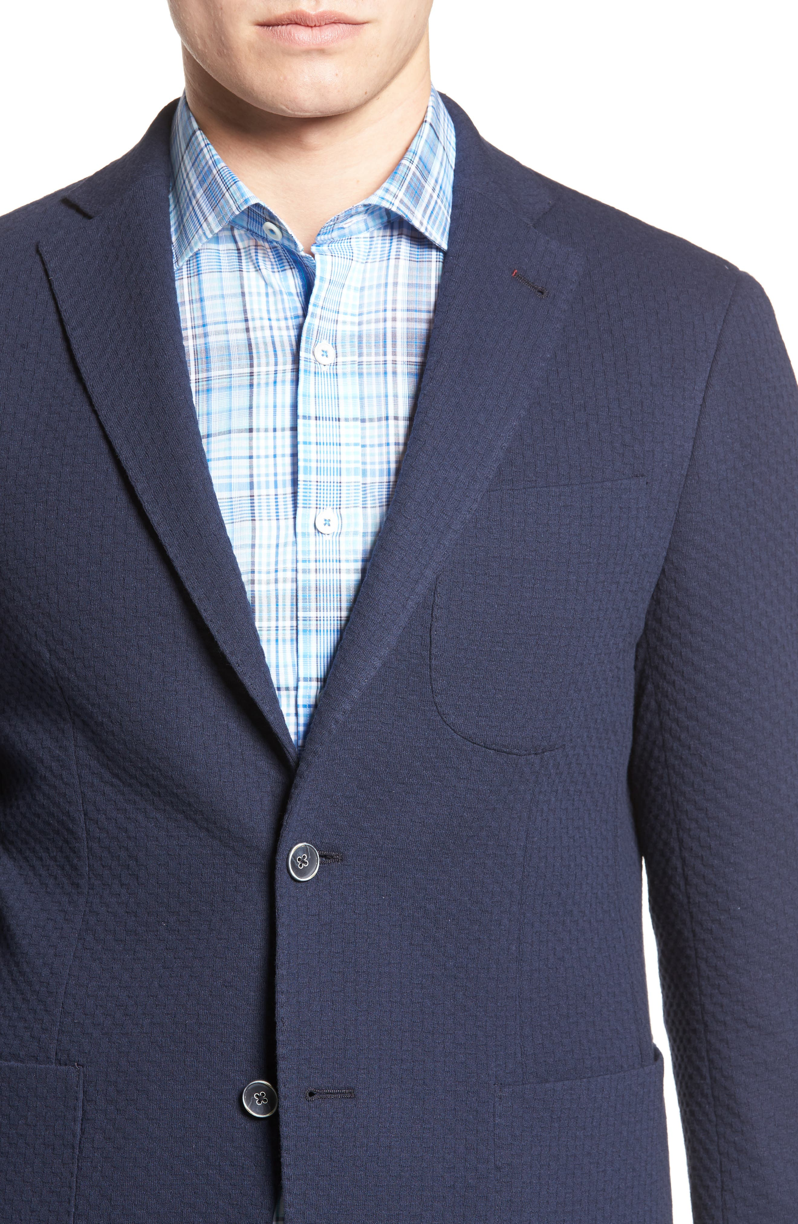 Textured Blazer,                             Alternate thumbnail 4, color,                             Navy