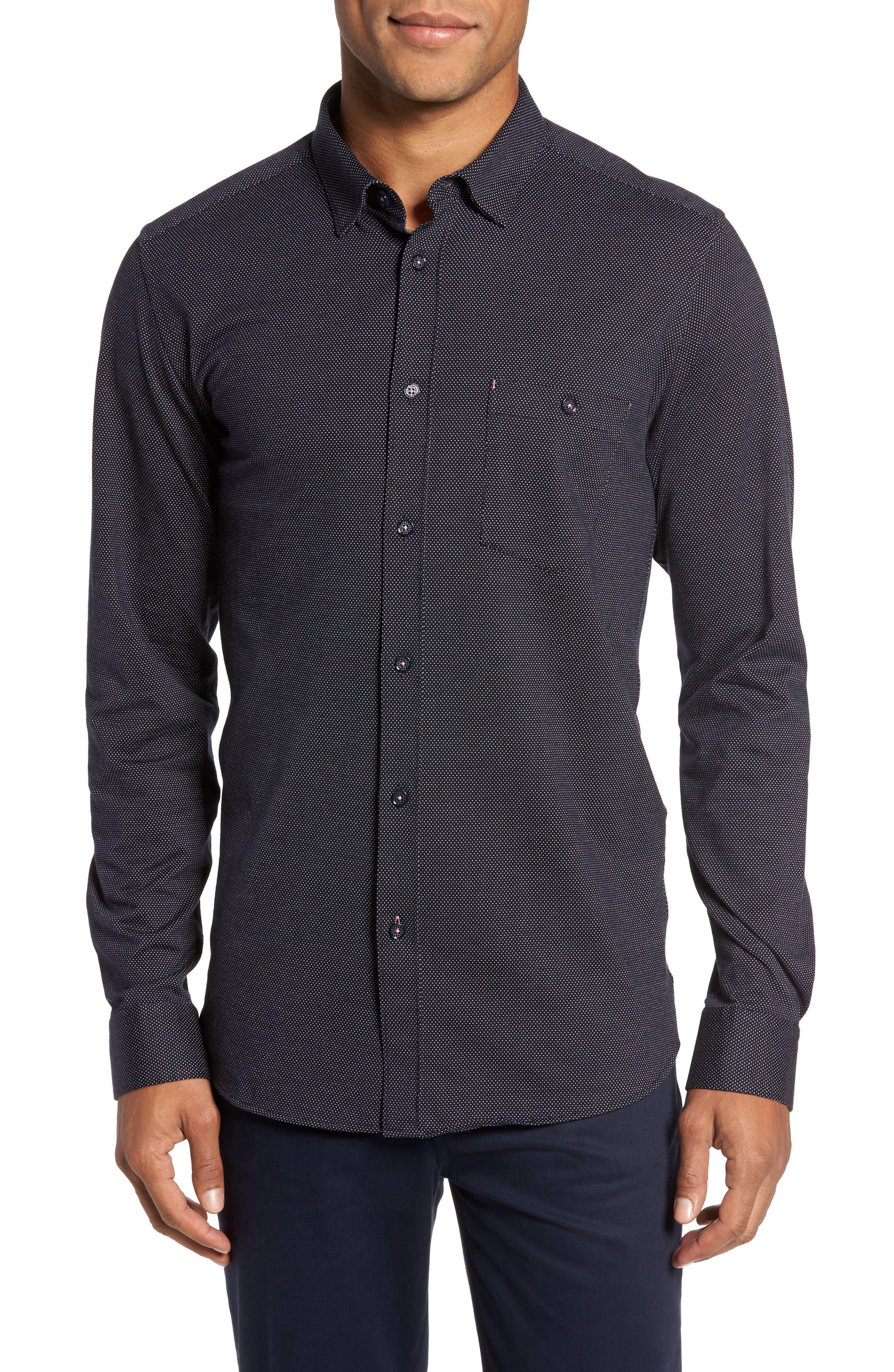 Slim Fit Microdot Sport Shirt,                         Main,                         color, Navy