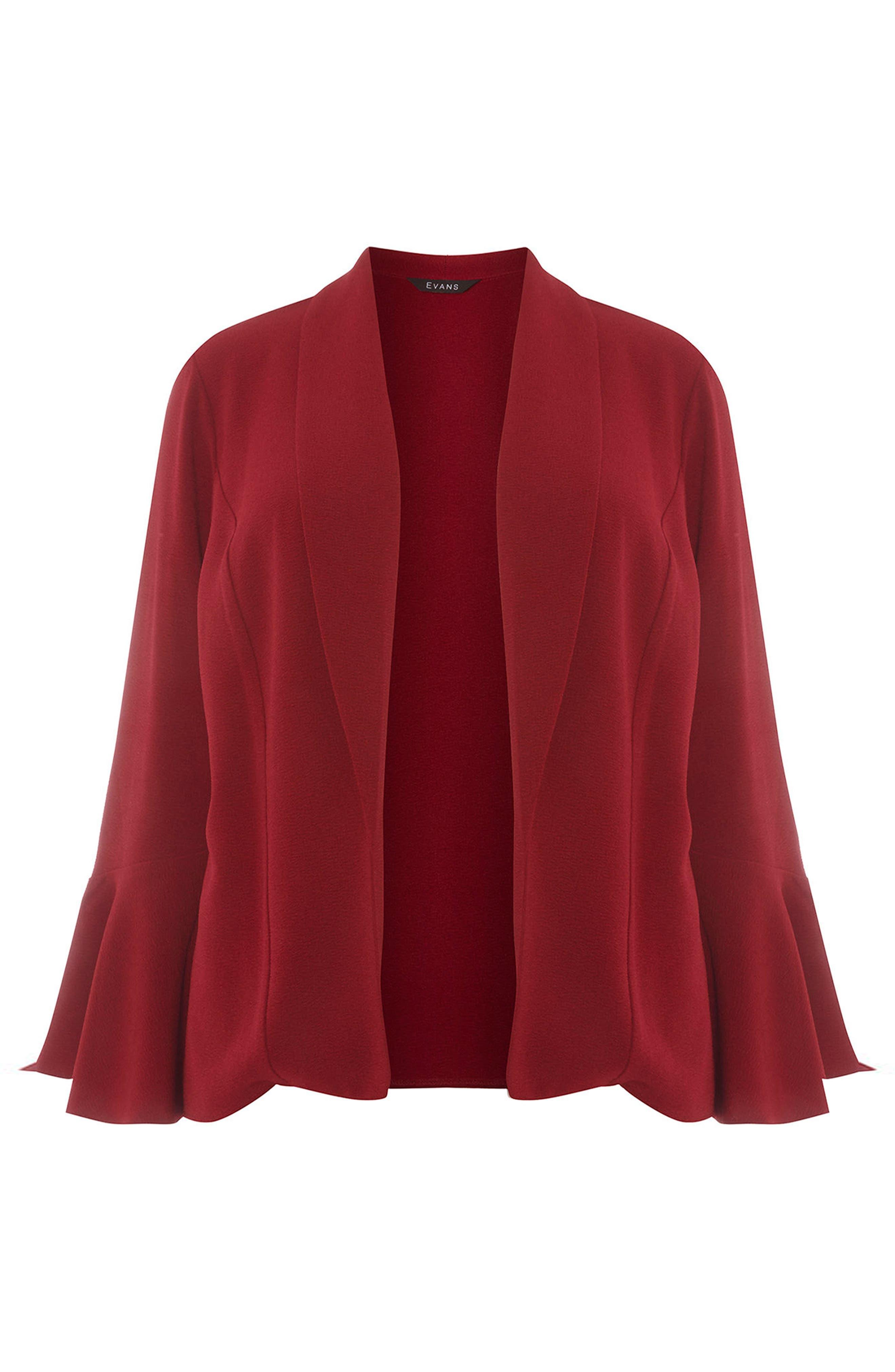 Bell Sleeve Crepe Jacket,                             Alternate thumbnail 5, color,                             Wine