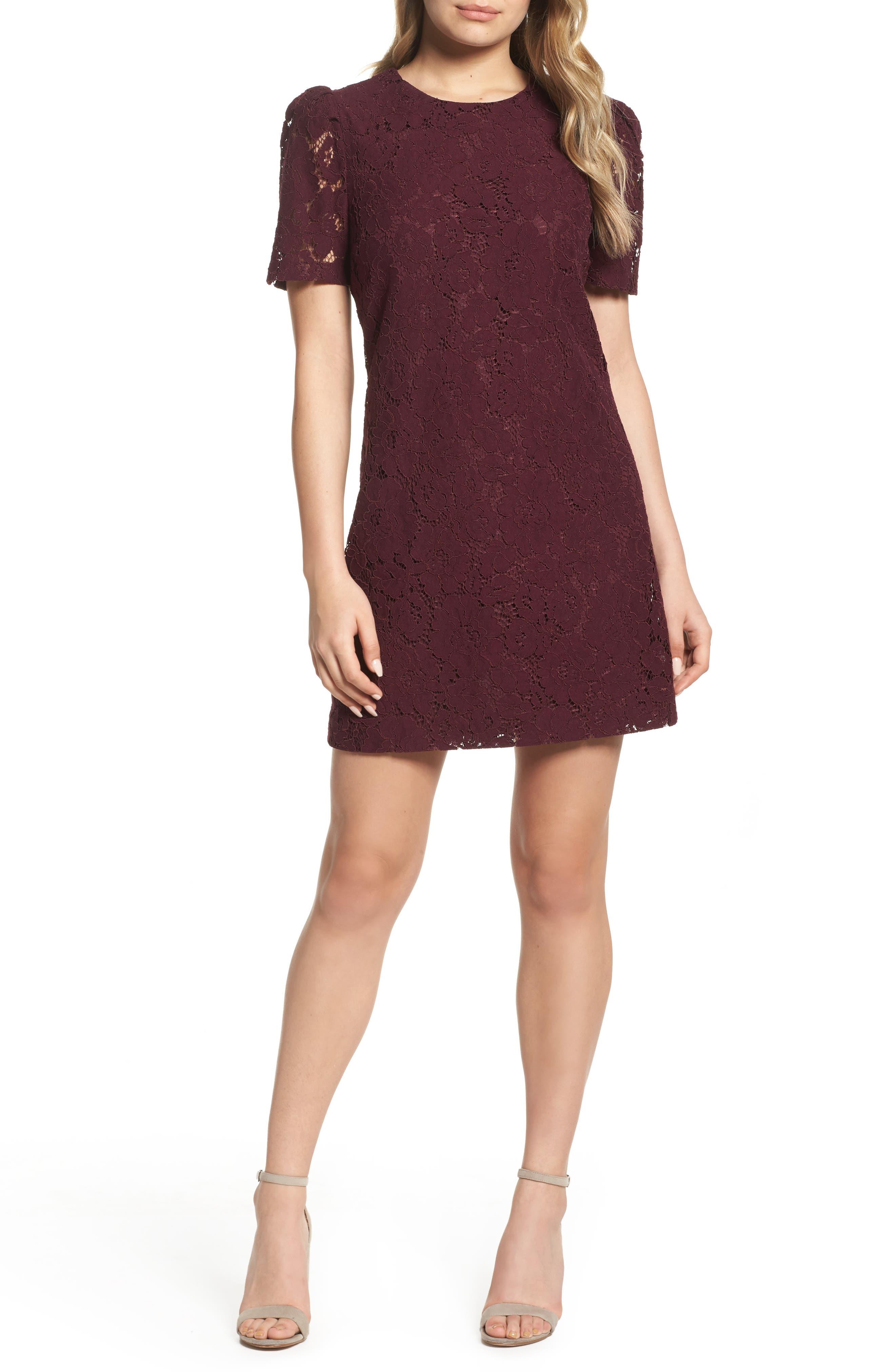 Lace Shift Dress,                             Main thumbnail 1, color,                             Merlot