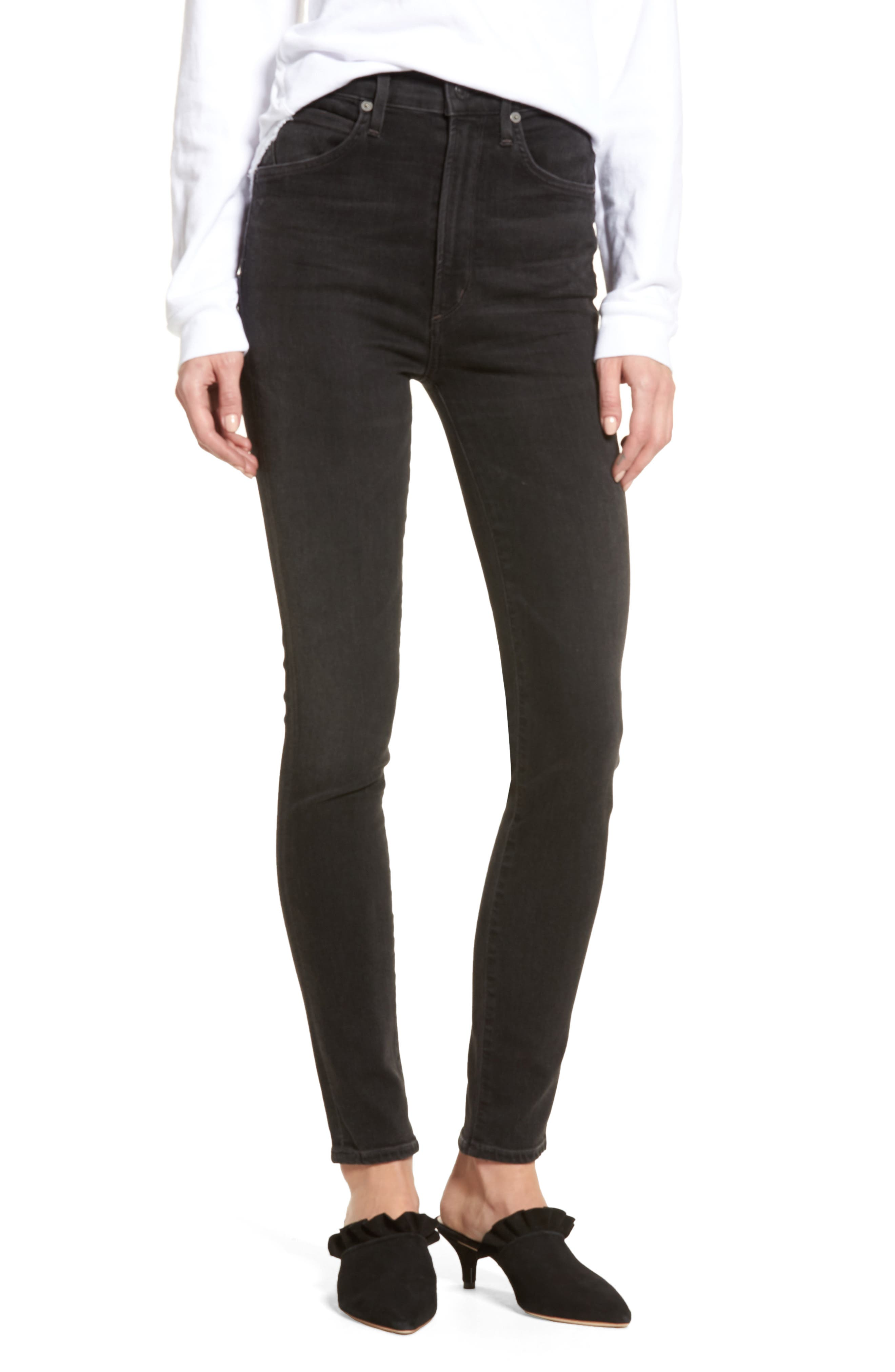 Chrissy High Waist Skinny Jeans,                             Main thumbnail 1, color,                             Darkness