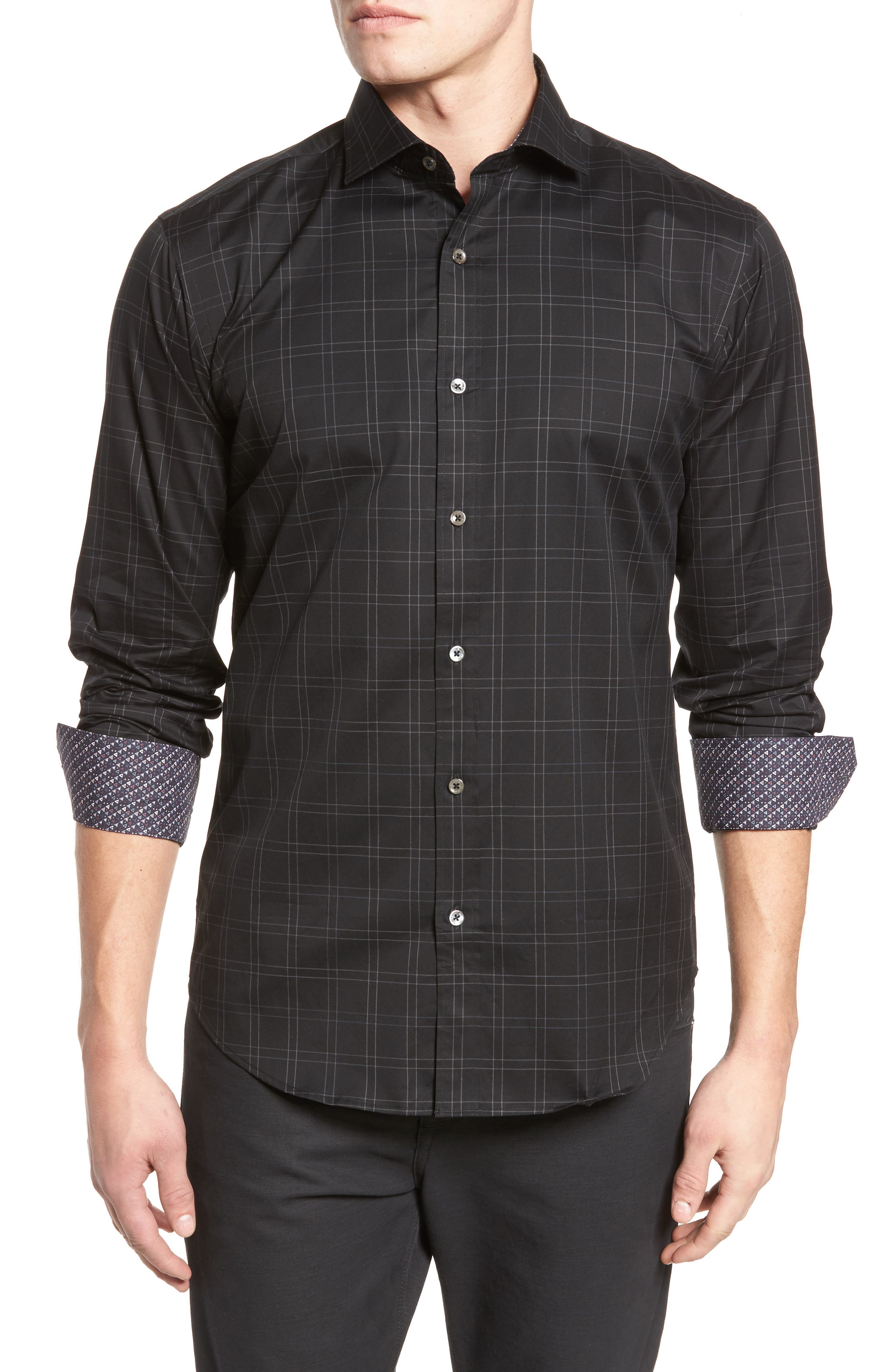 Shaped Fit Plaid Sport Shirt,                             Main thumbnail 1, color,                             Black