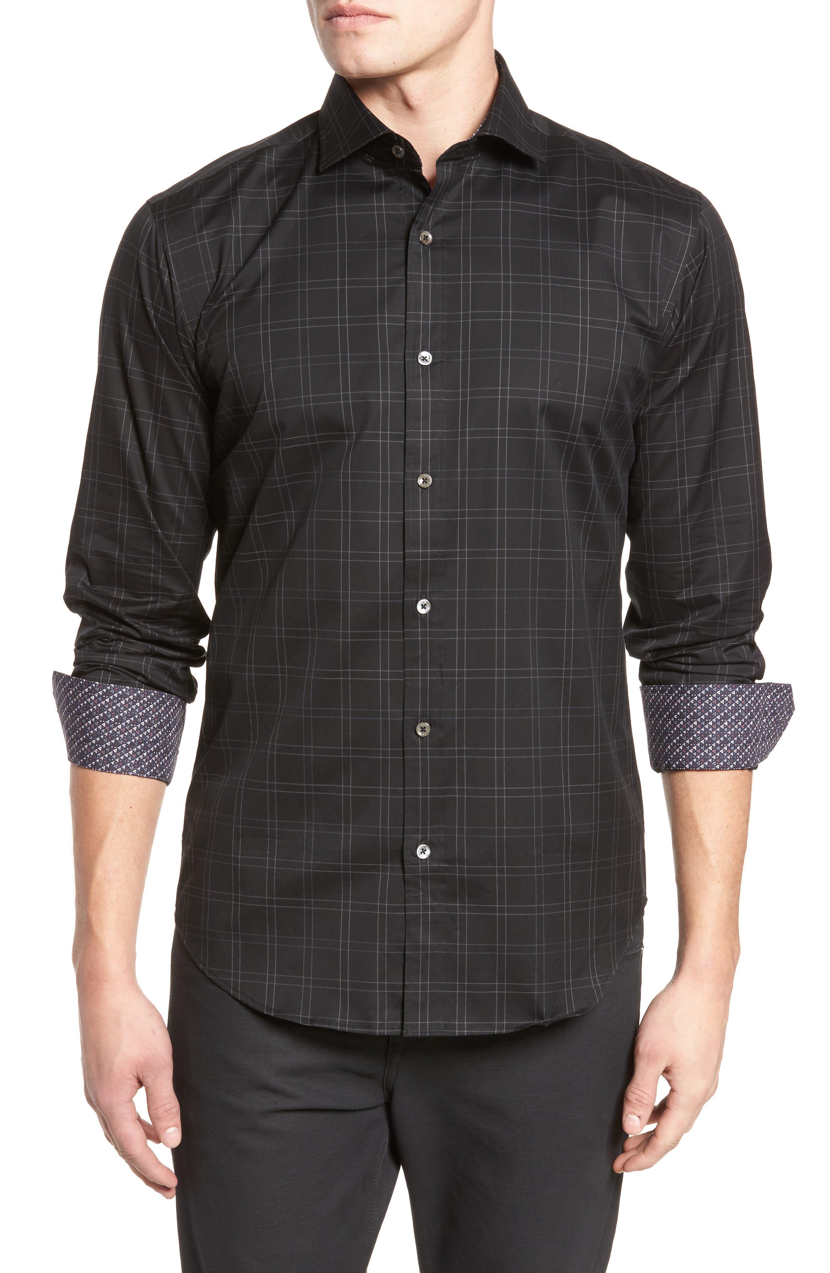 Shaped Fit Plaid Sport Shirt,                         Main,                         color, Black