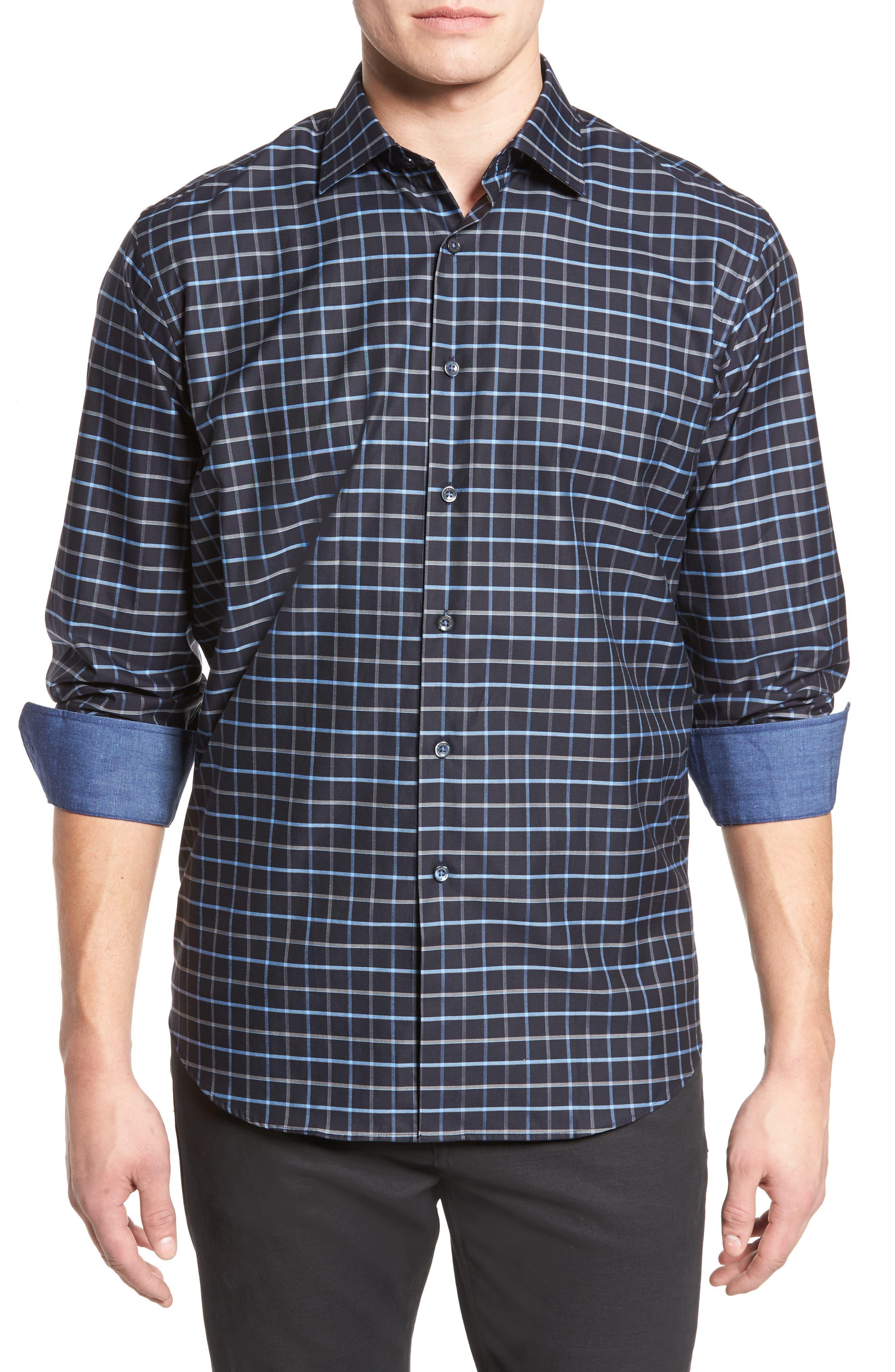 Classic Fit Grid Print Sport Shirt,                         Main,                         color, Black