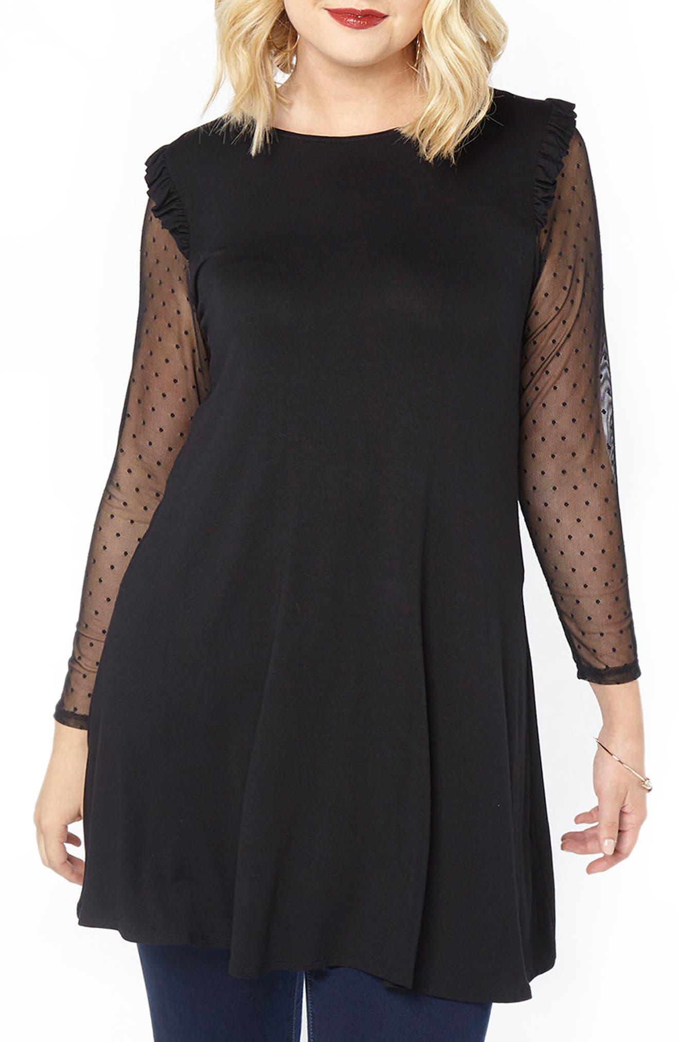 Mesh Sleeve Tunic,                         Main,                         color, Black