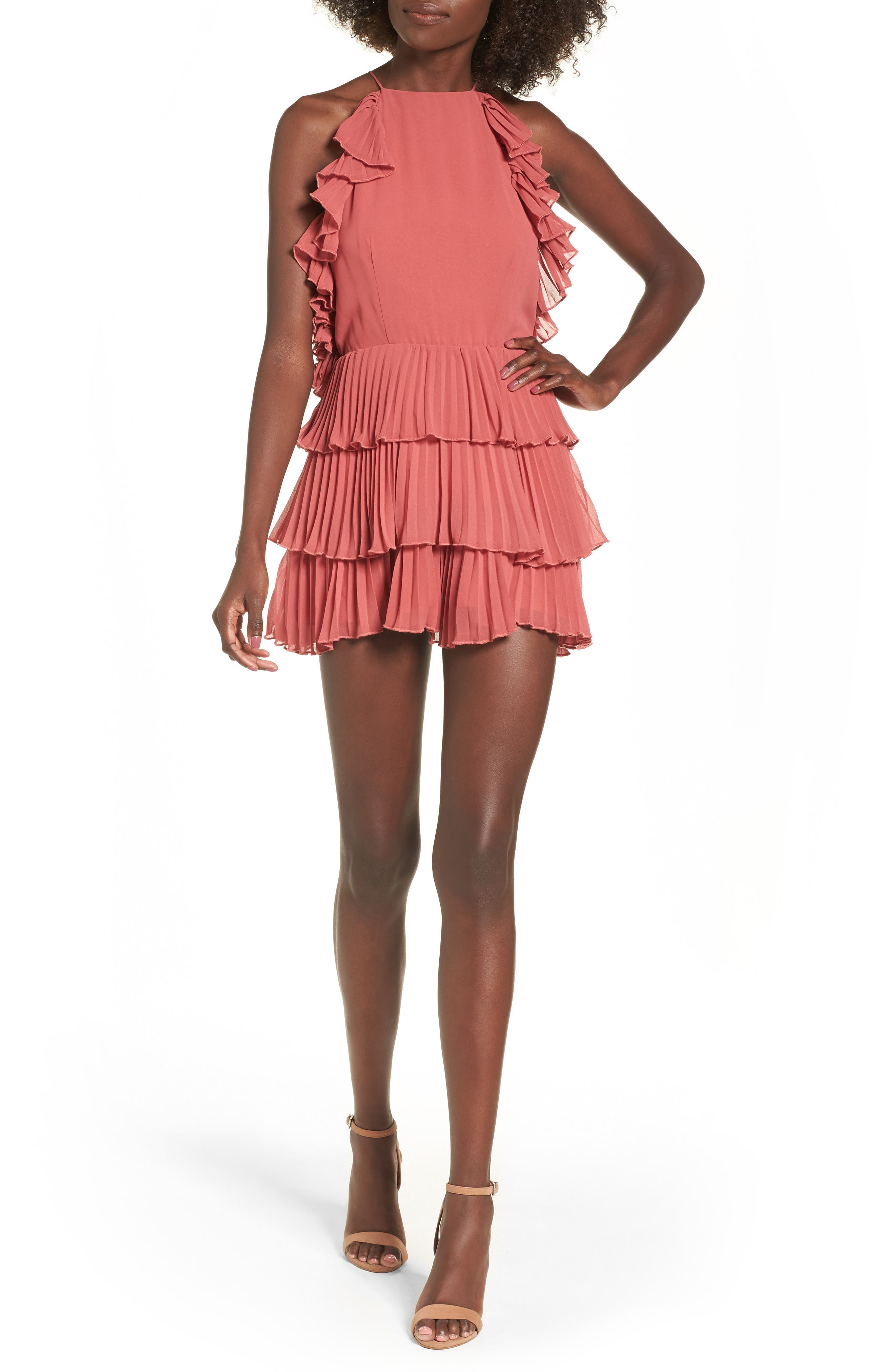 Say Something Playsuit Romper,                         Main,                         color, Mineral Red
