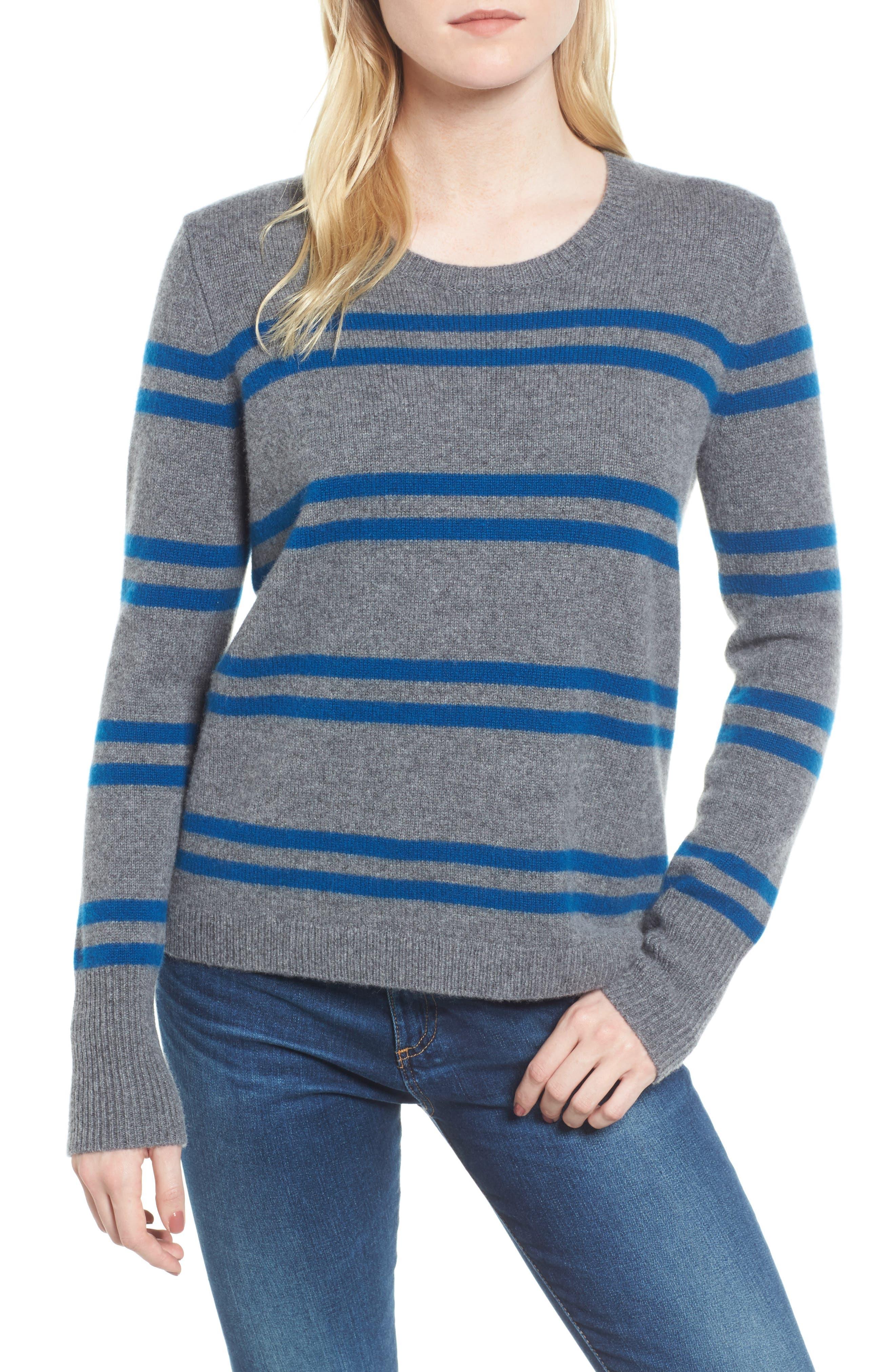 Stripe Cashmere Sweatshirt,                         Main,                         color, Heather Grey/ Ocean