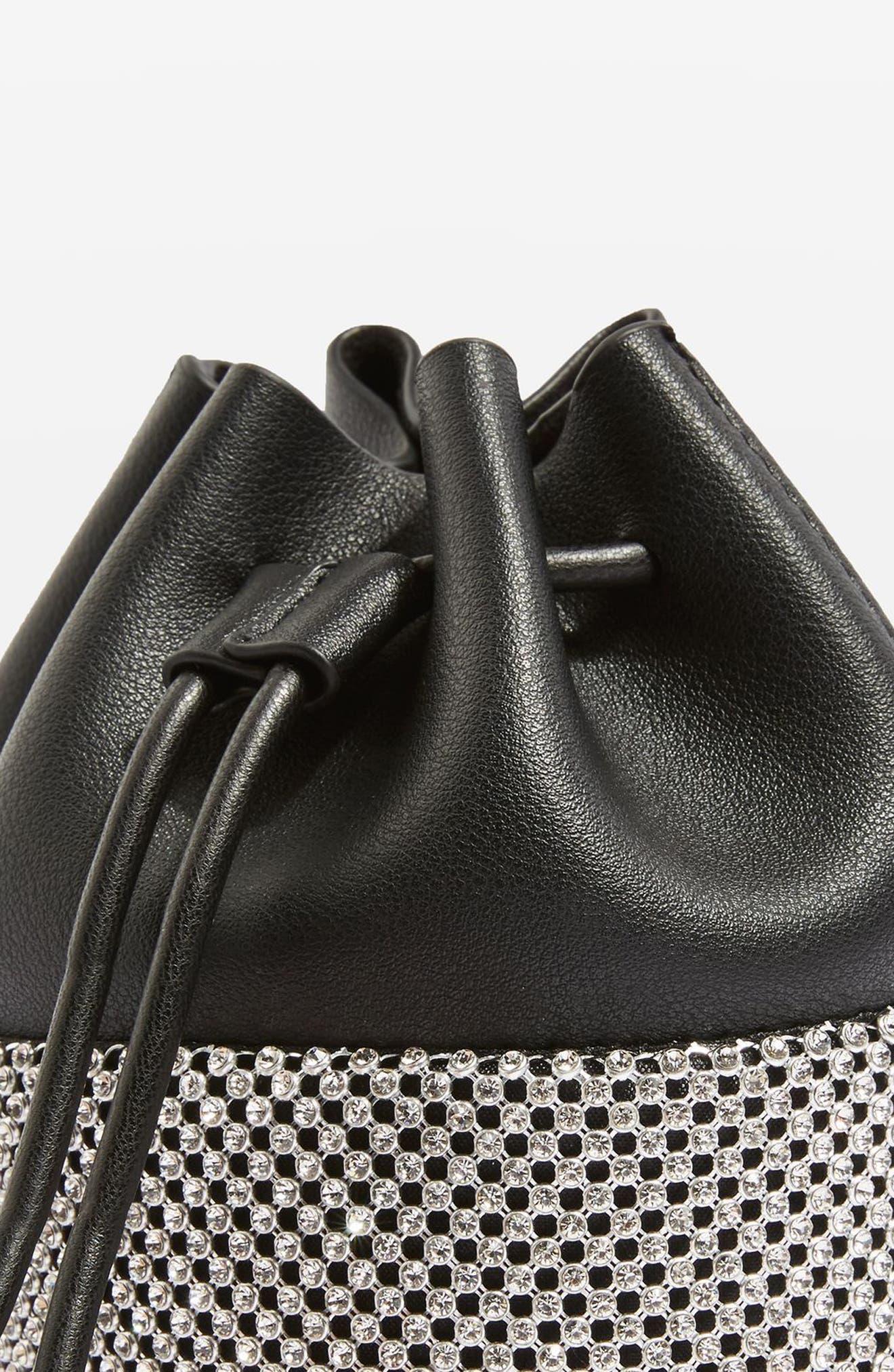 Alternate Image 3  - Topshop Ruben Diamante Faux Leather Bucket Crossbody Bag