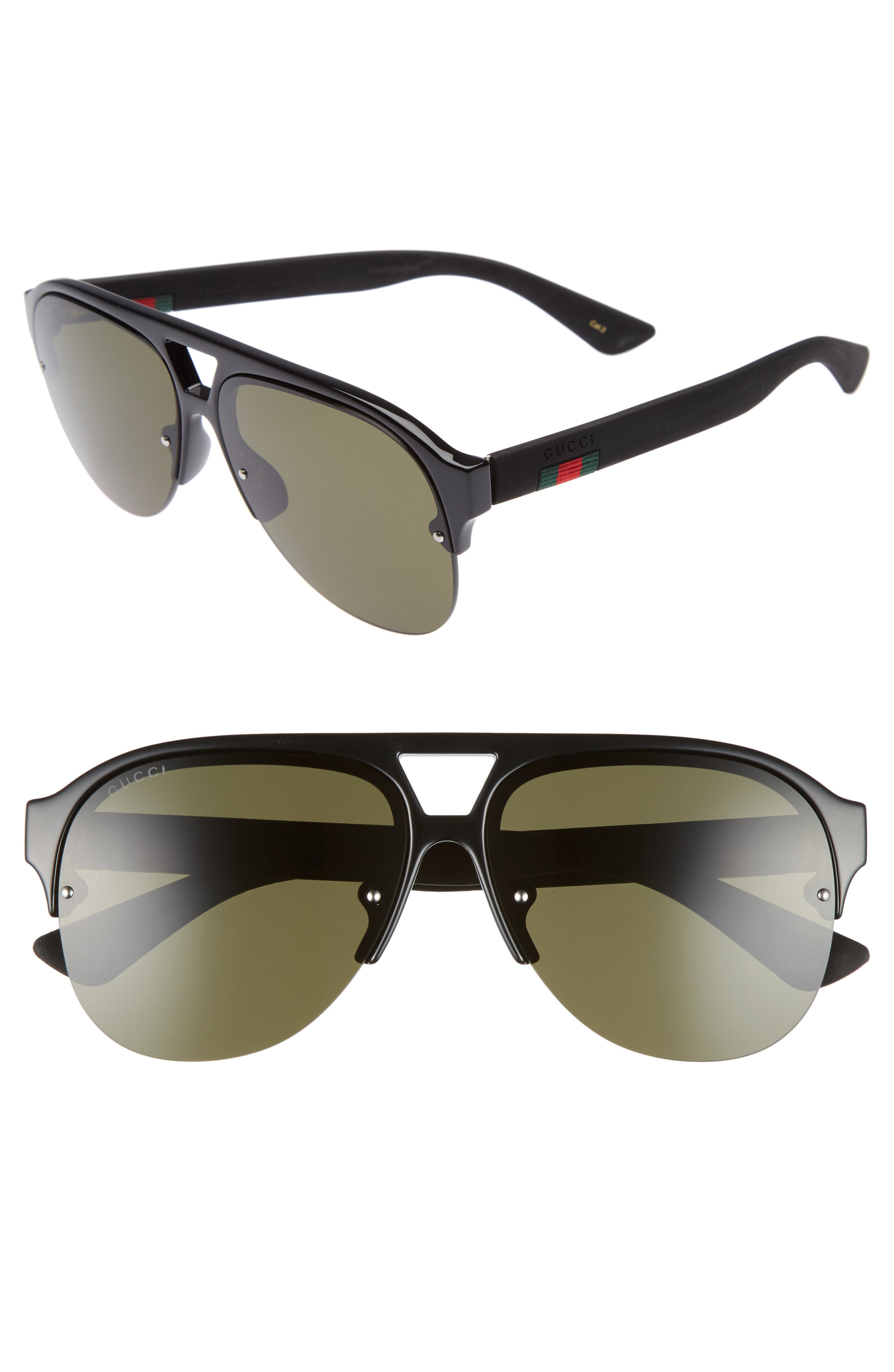gucci 59mm semi rimless sunglasses | nordstrom