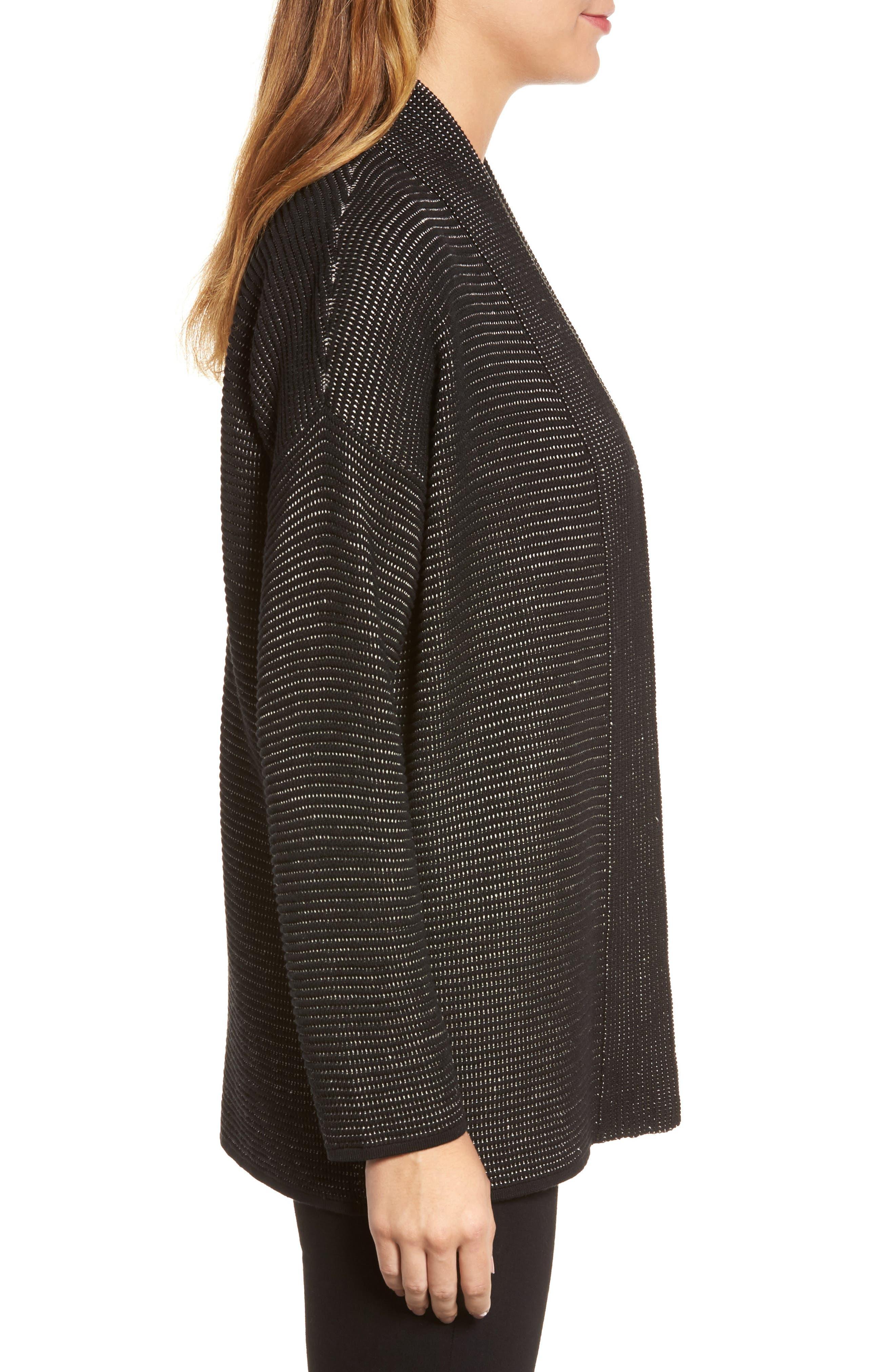 Silk Blend Ottoman Knit Cardigan,                             Alternate thumbnail 3, color,                             Black Natural