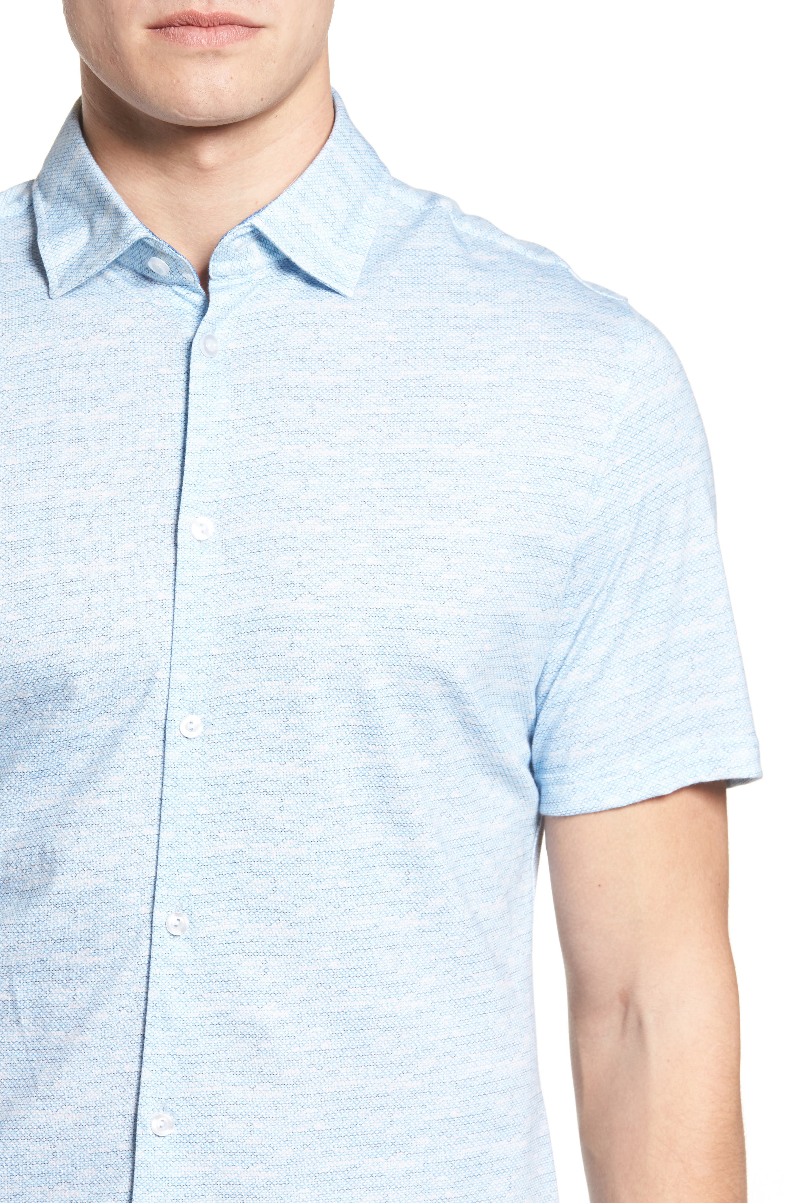 Trim Fit Mélange Sport Shirt,                             Alternate thumbnail 4, color,                             Blue