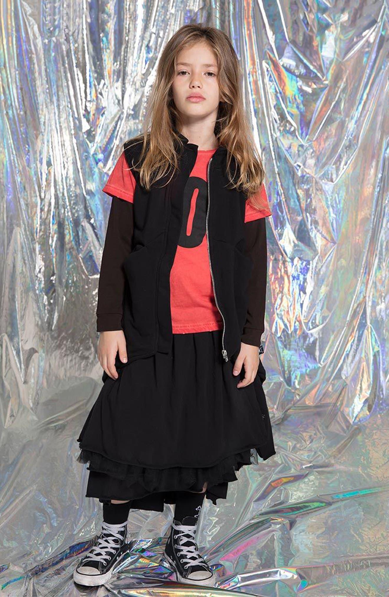 Layered Tulle Skirt,                             Alternate thumbnail 4, color,                             Black