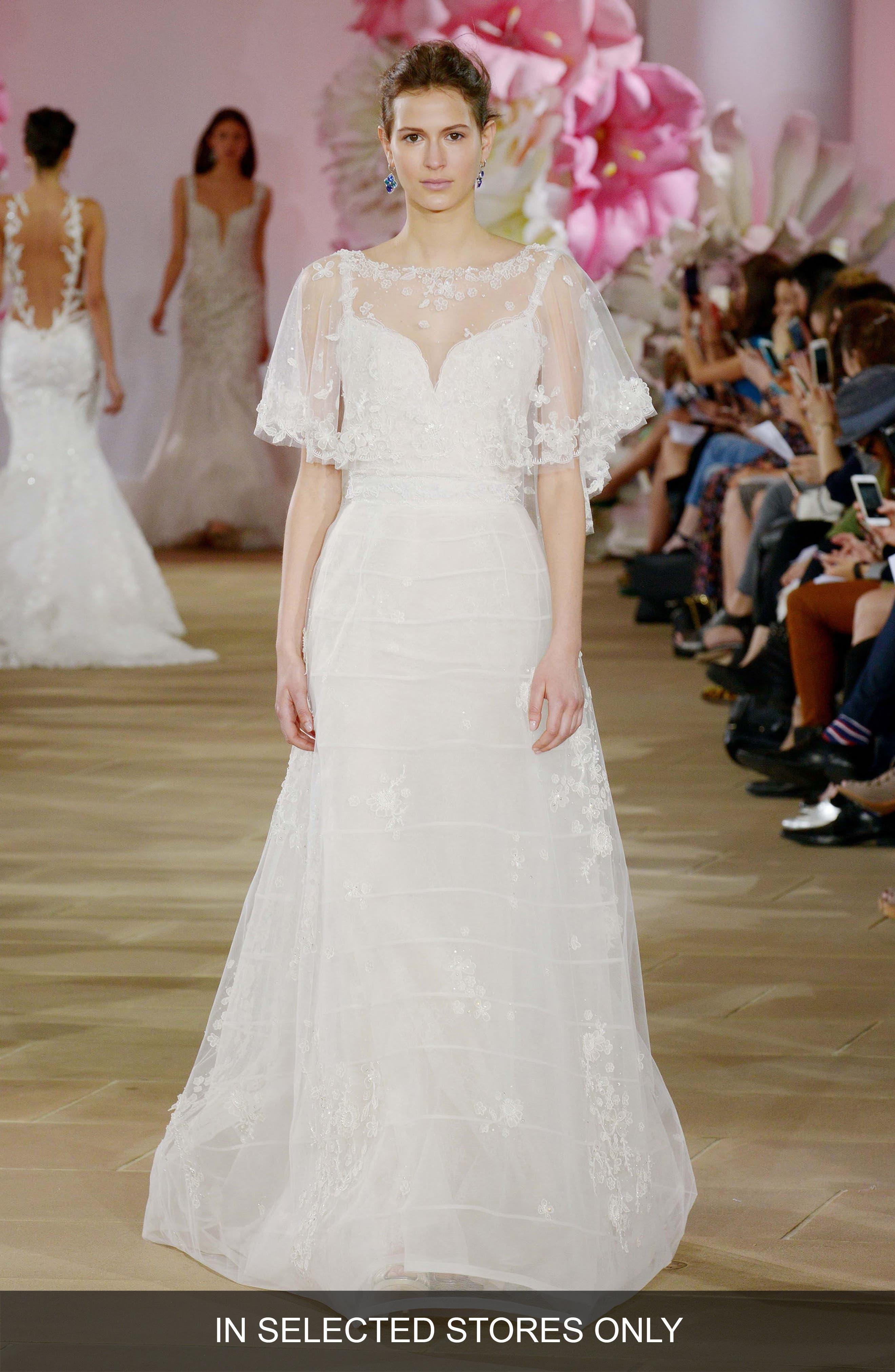 Alternate Image 1 Selected - Ines di Santo Renew Cape Bodice Silk Gown